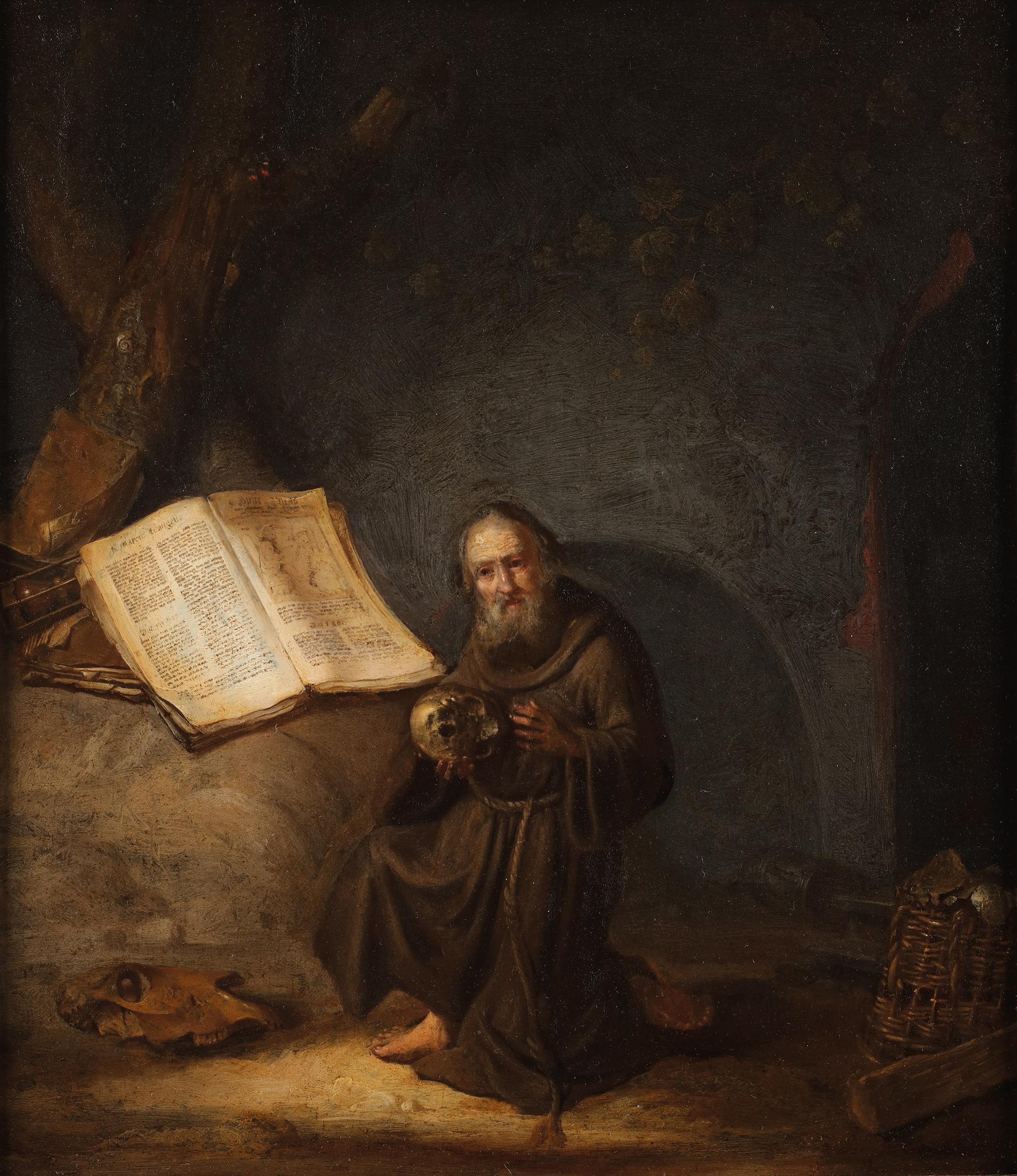 A hermit reading the Marcus gospel