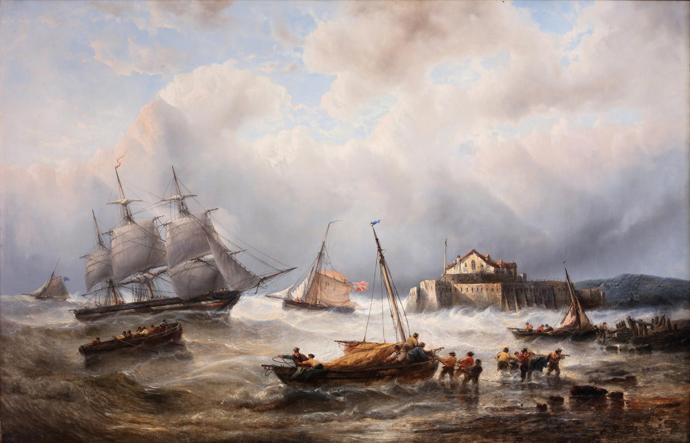 Ships in heavy water near the coast