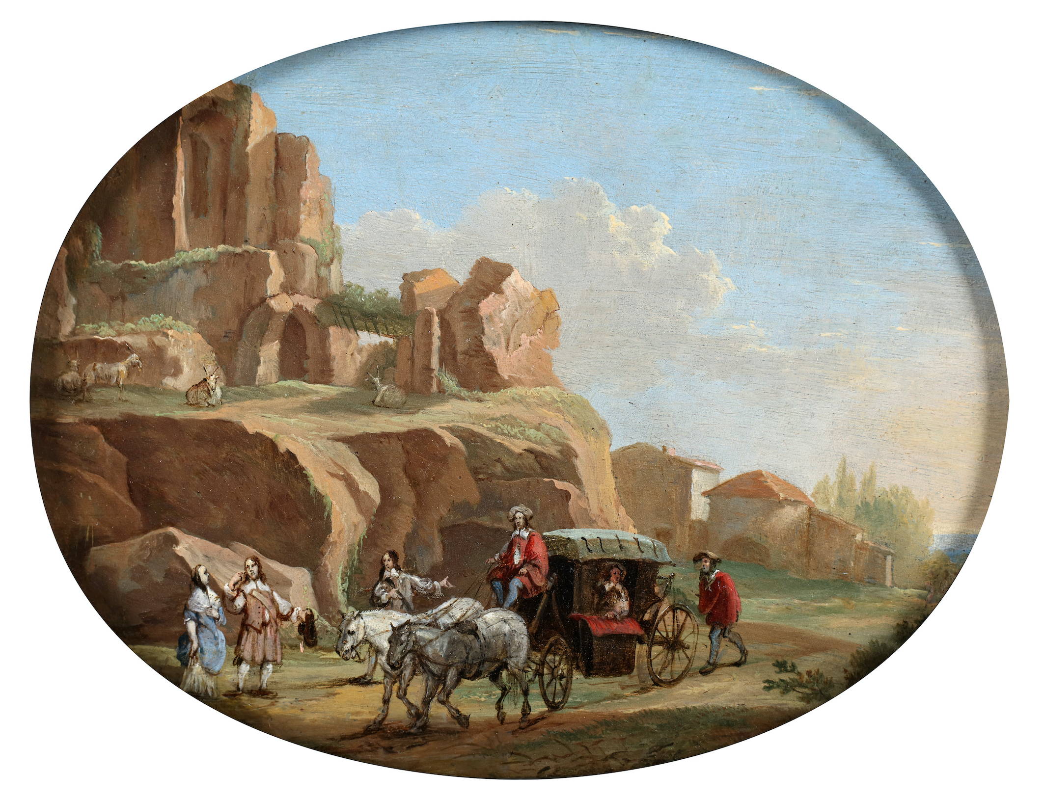 An escorted carriage in a rocky landscape