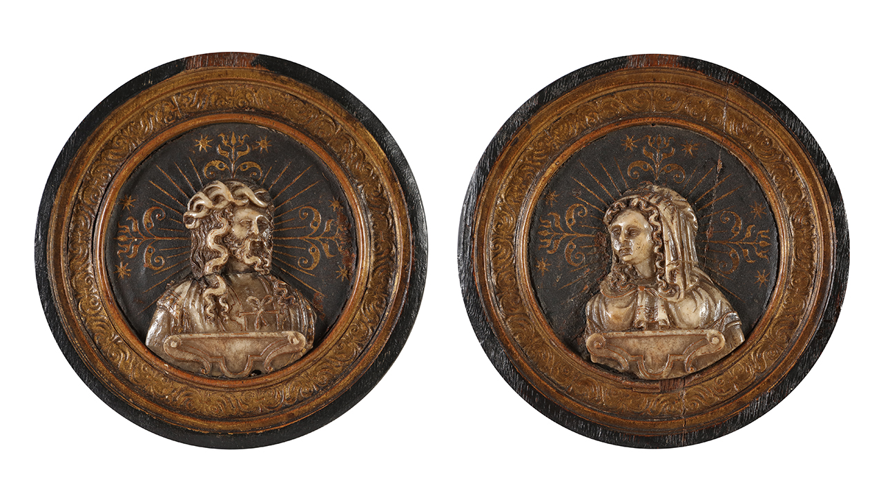 Two plaquettes representing Christ and Mary