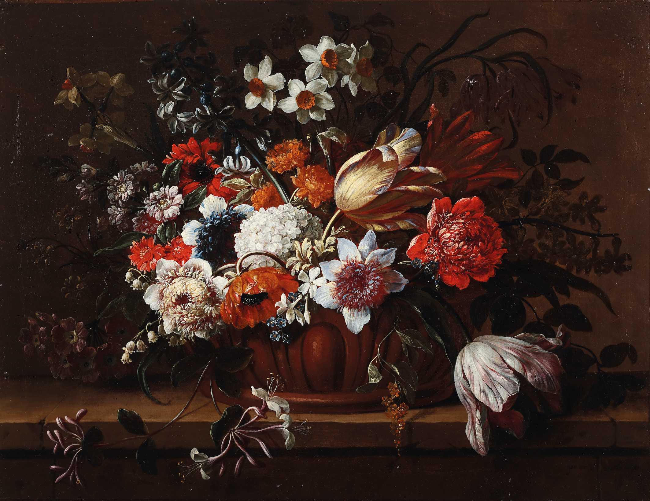 A still life of flowers in a stone urn