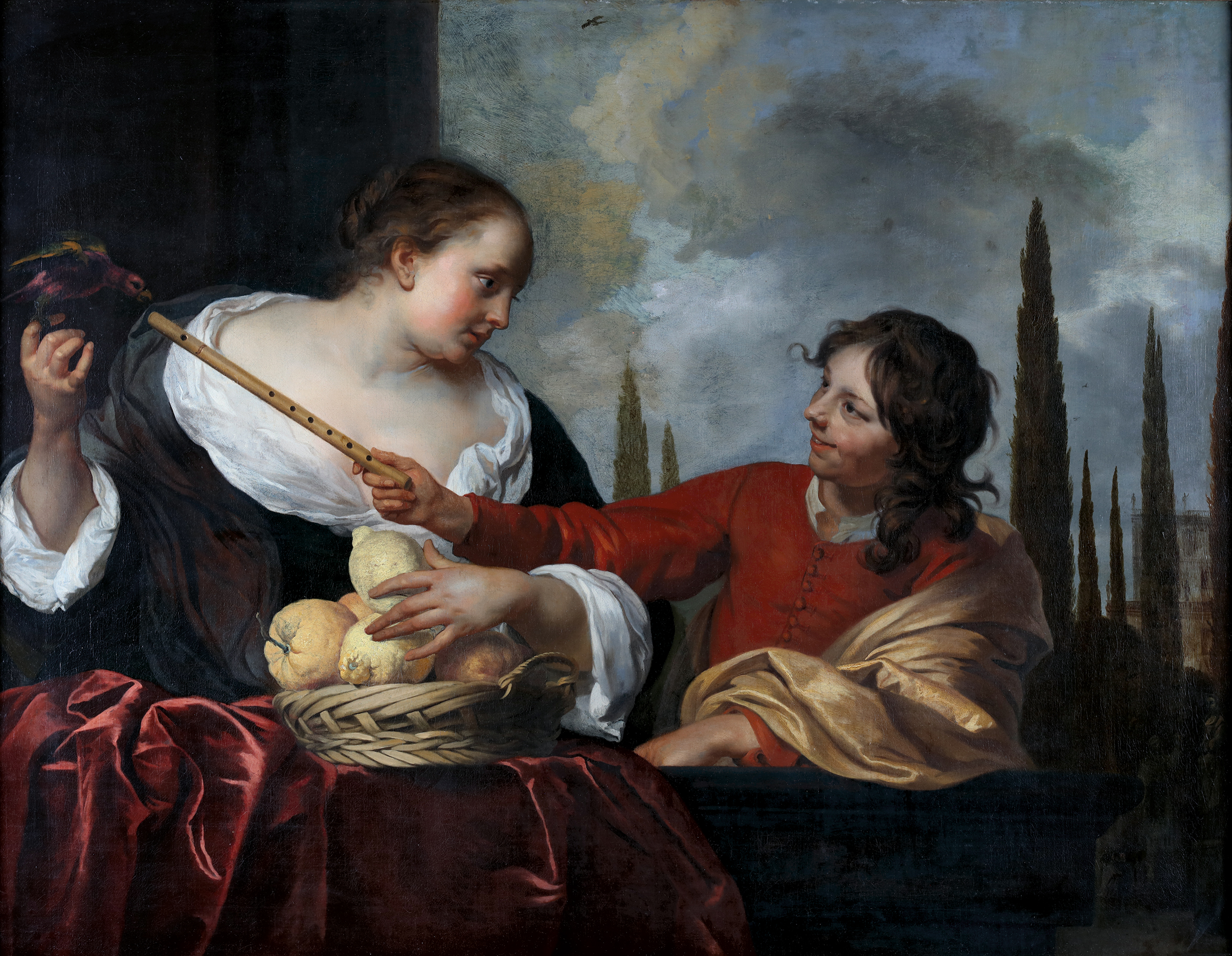 Woman with a parrot holding a basket of fruit and a young man with a flute