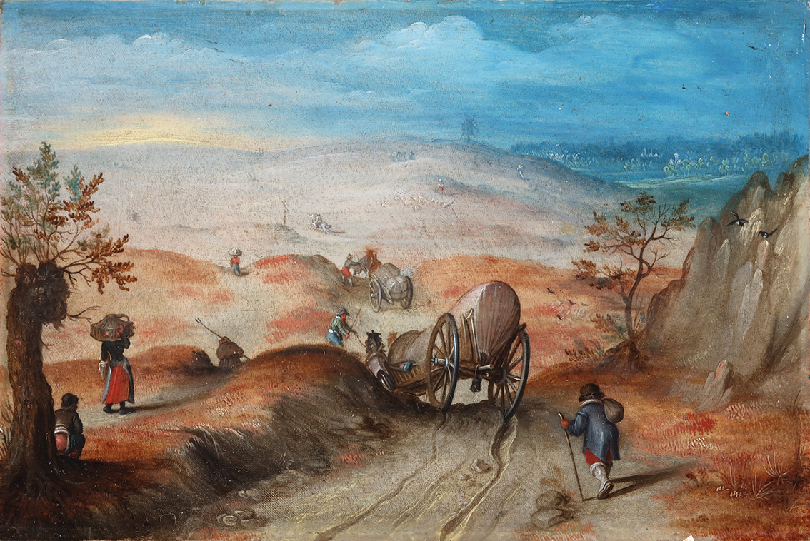 An extensive hilly landscape with carriages and peasants on a sandy path