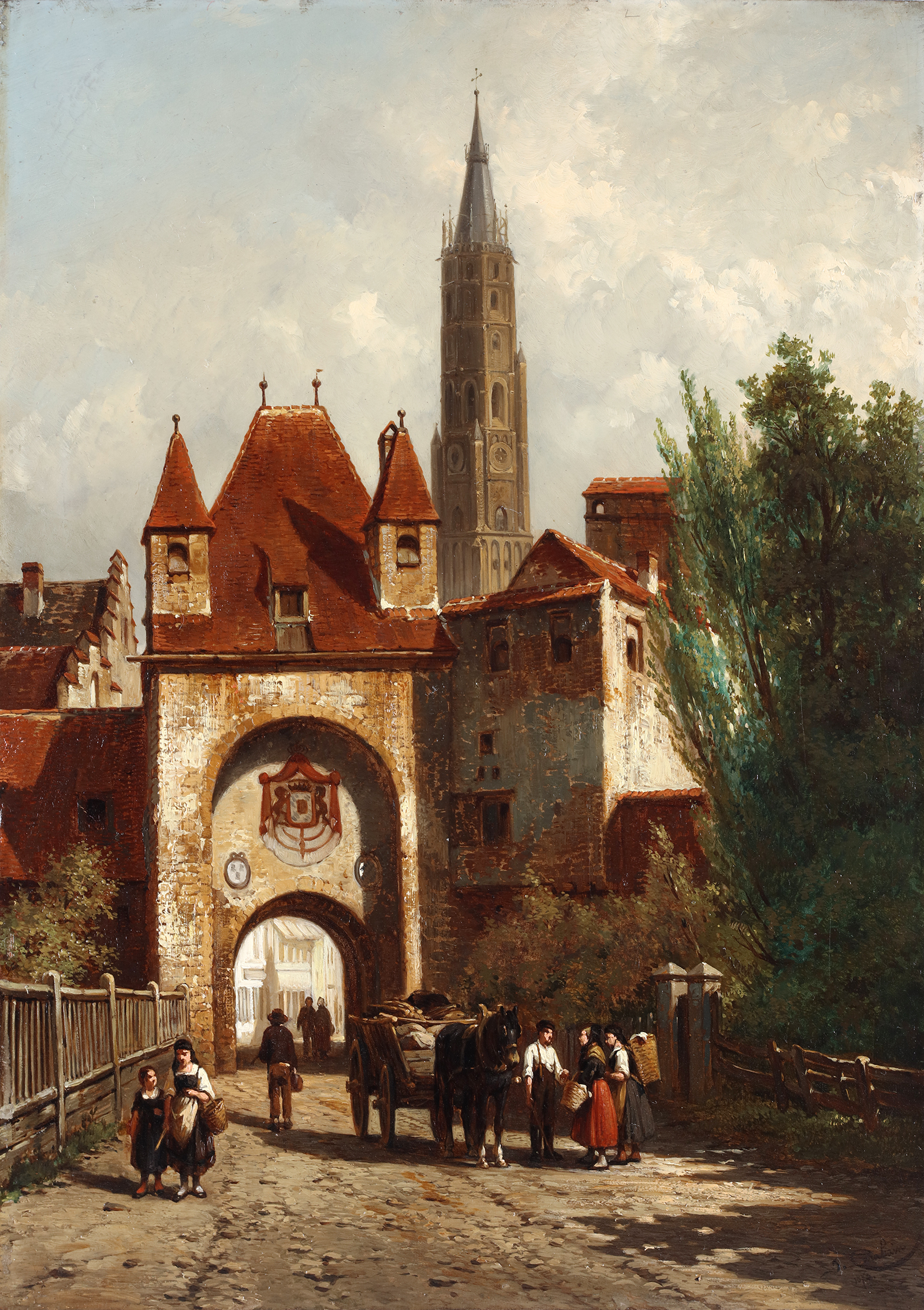 View of the Munich gate in Landshut with farmers, marketers and loaded horse, 1874