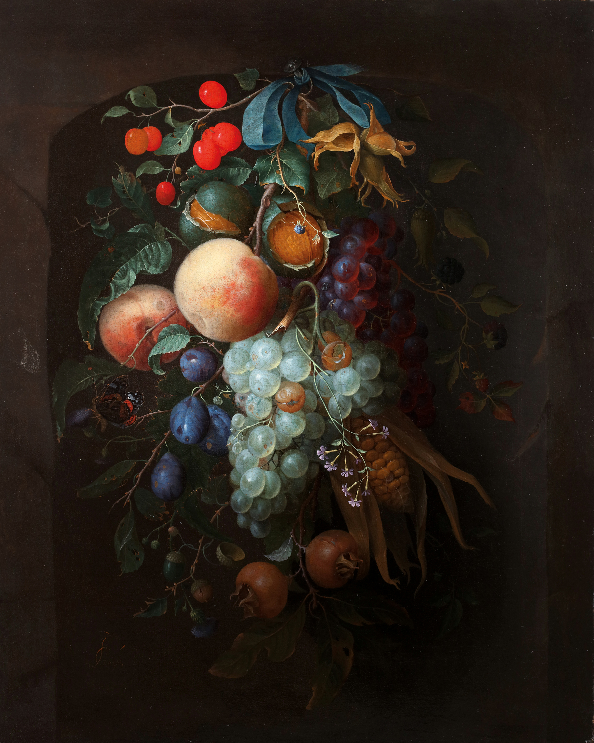 A hanging garland of fruit
