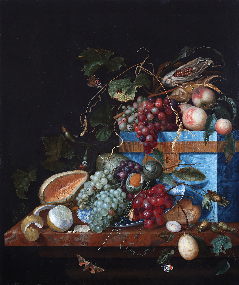 Still Life with Fruit, a Lapis Lazuli Box, and a Wanli Dish