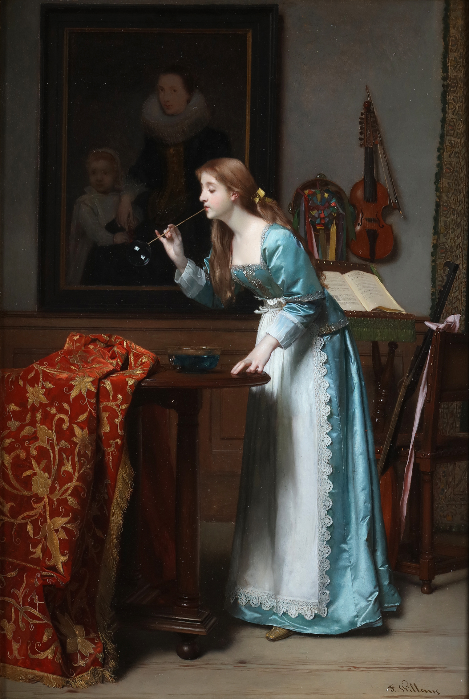 Young girl blowing bubbles in front of a painting of Cornelis de Vos