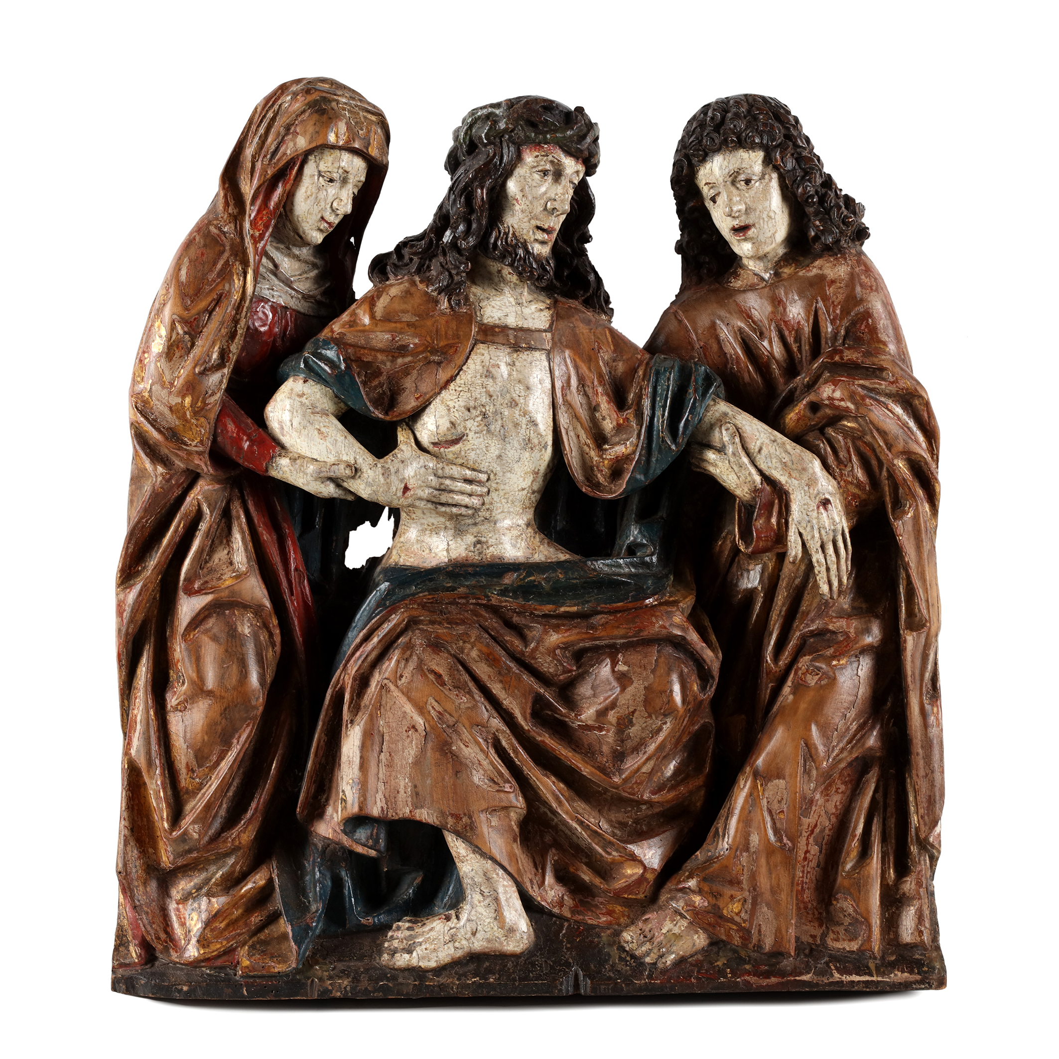 Christ as man of sorrows supported/assisted by the Virgin and St John