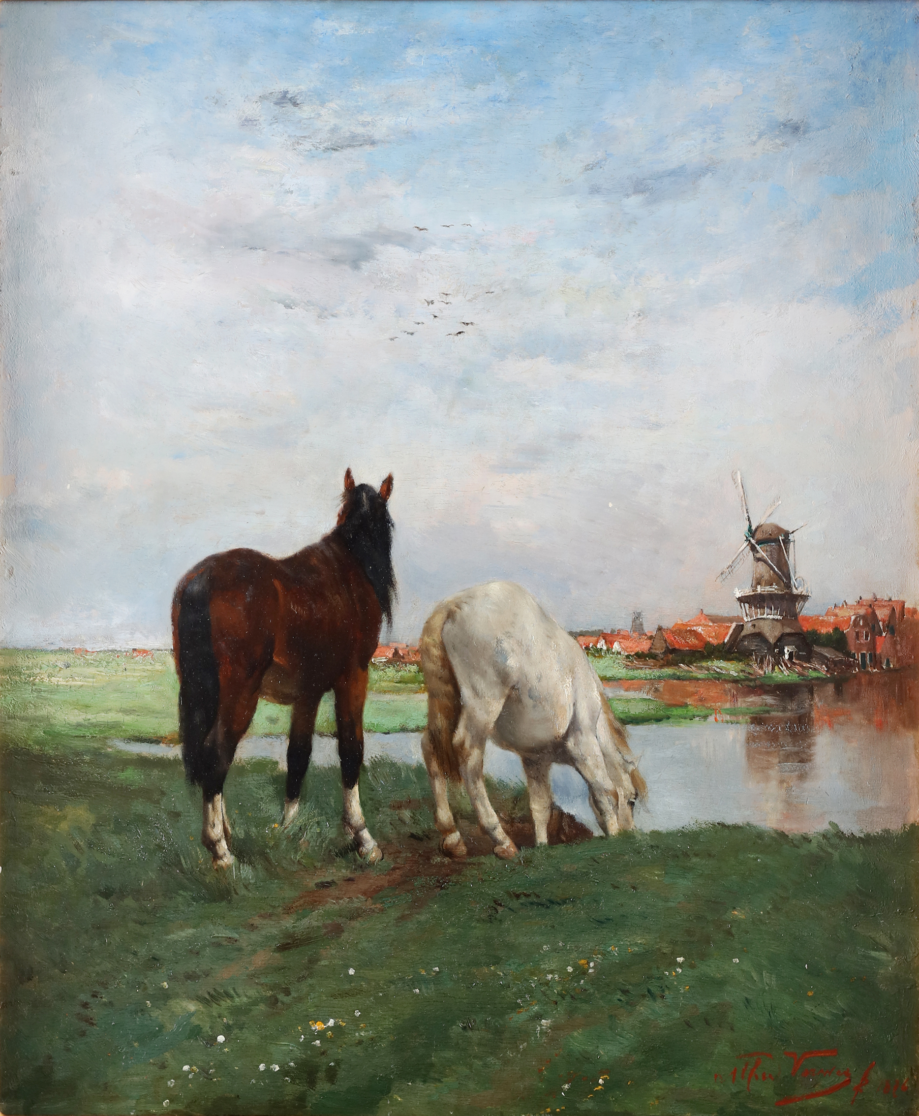 Horses in a meadow, a dutch town with windmail beyond