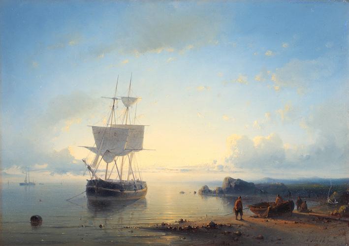 An anchored ship near the coast