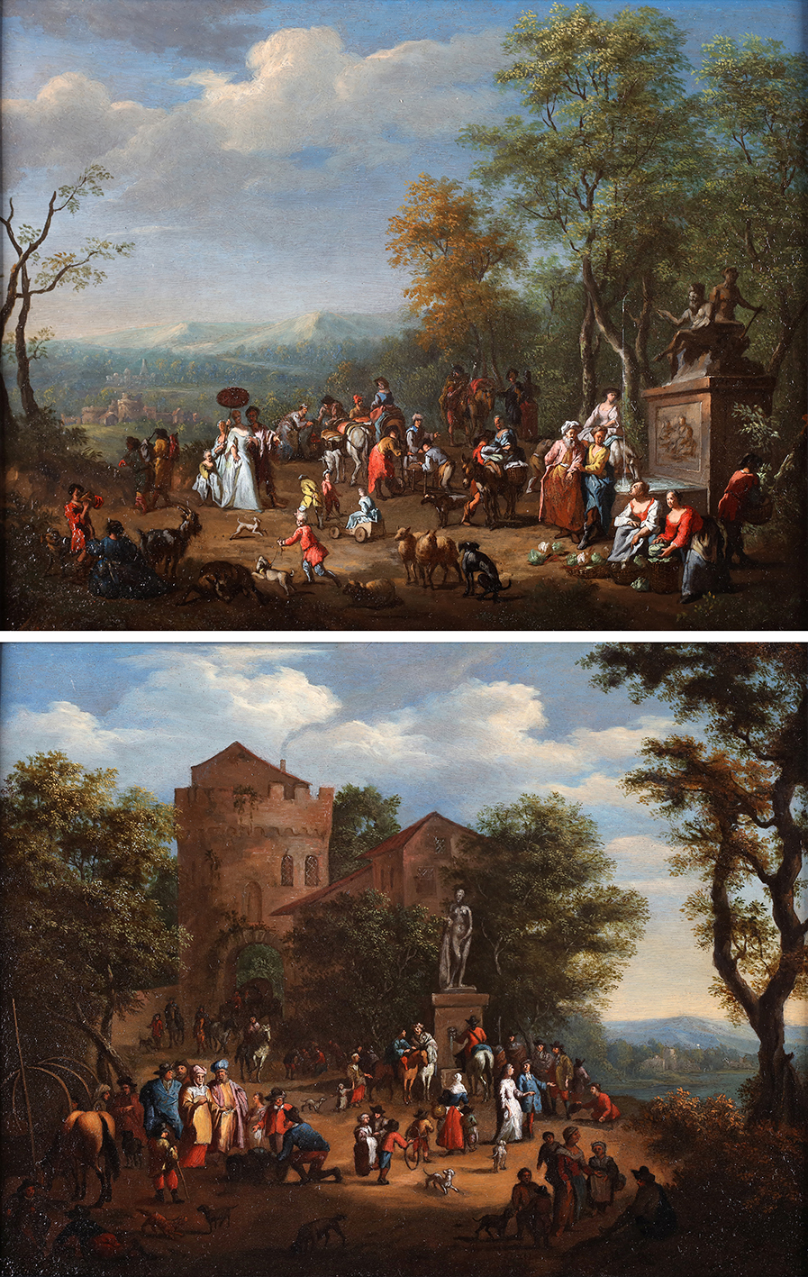 A pair of galant scenes with orientals in an italianized landscape with classical monuments