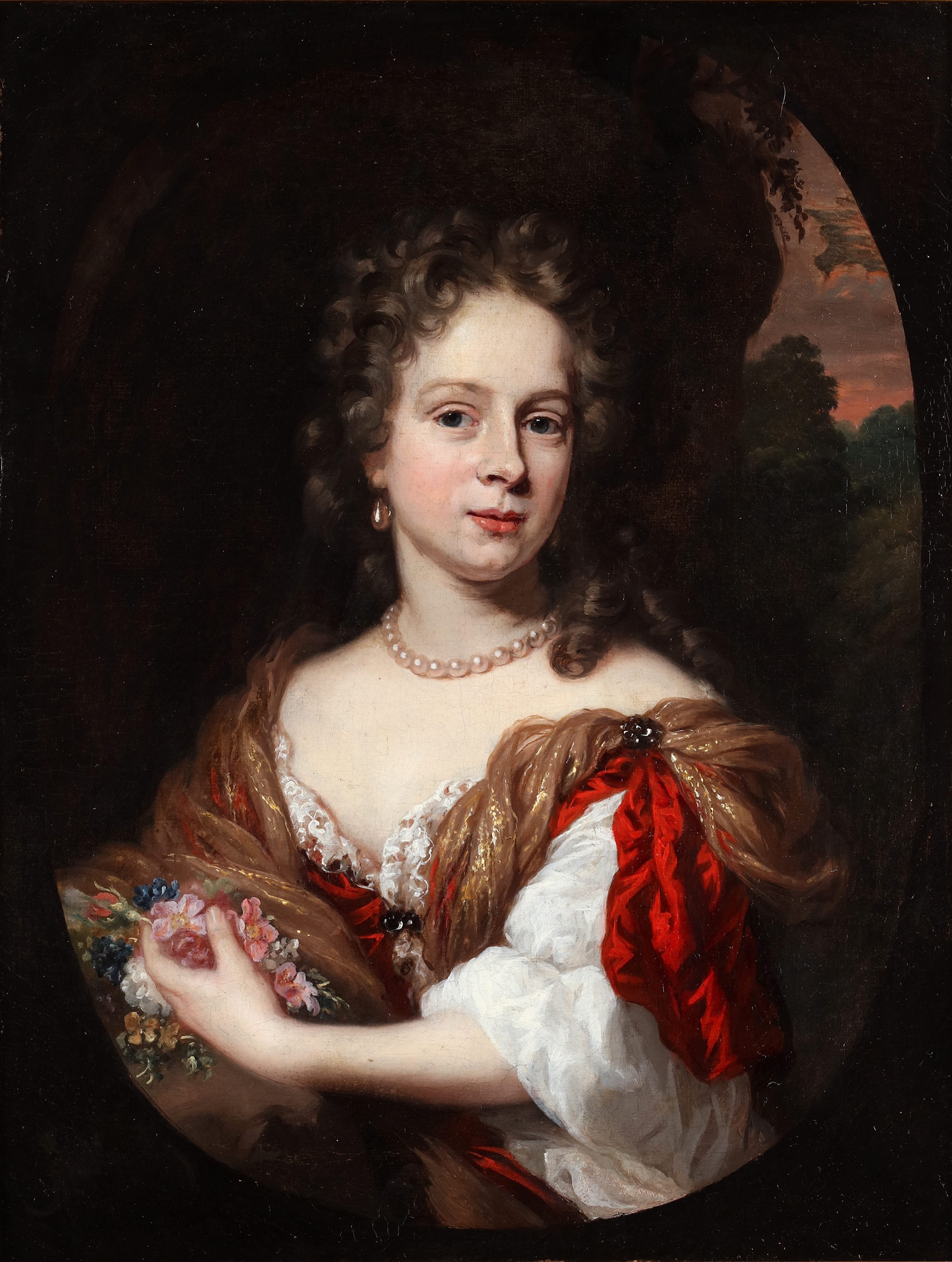 Portrait of a young lady holding flowers