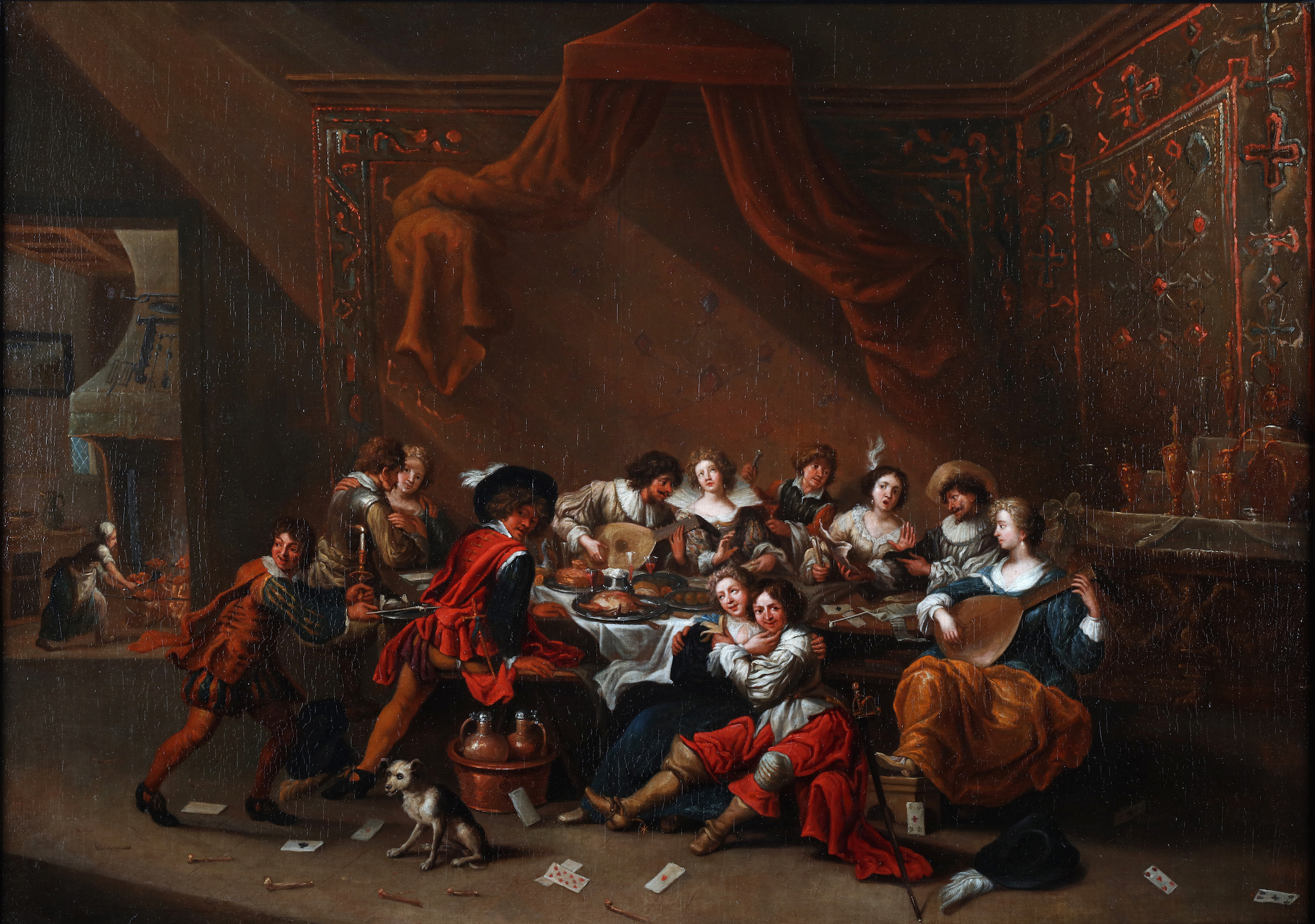 People eating, drinking, smoking, making music and romancing in a rich interior