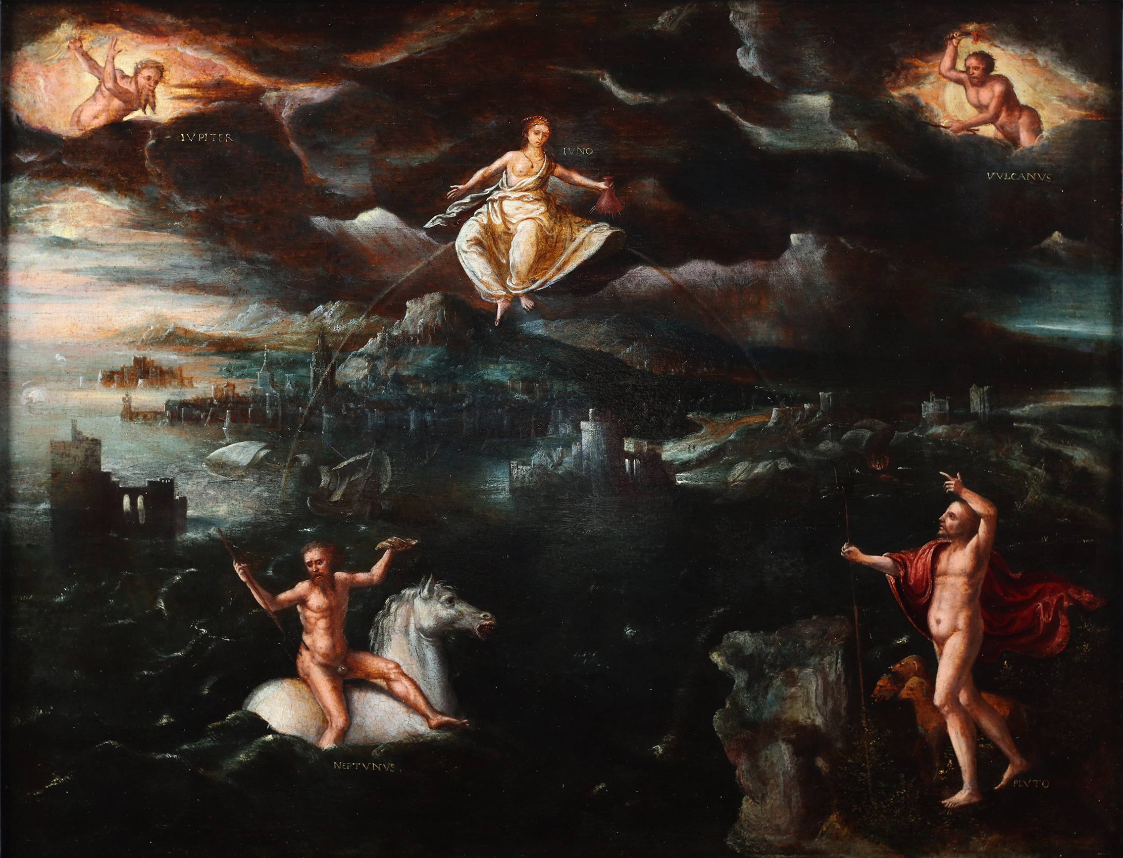 A sea coast landscape with a fortified city in the presence of the gods: Jupiter, Vulcanus, Juno, Neptunus and Pluto