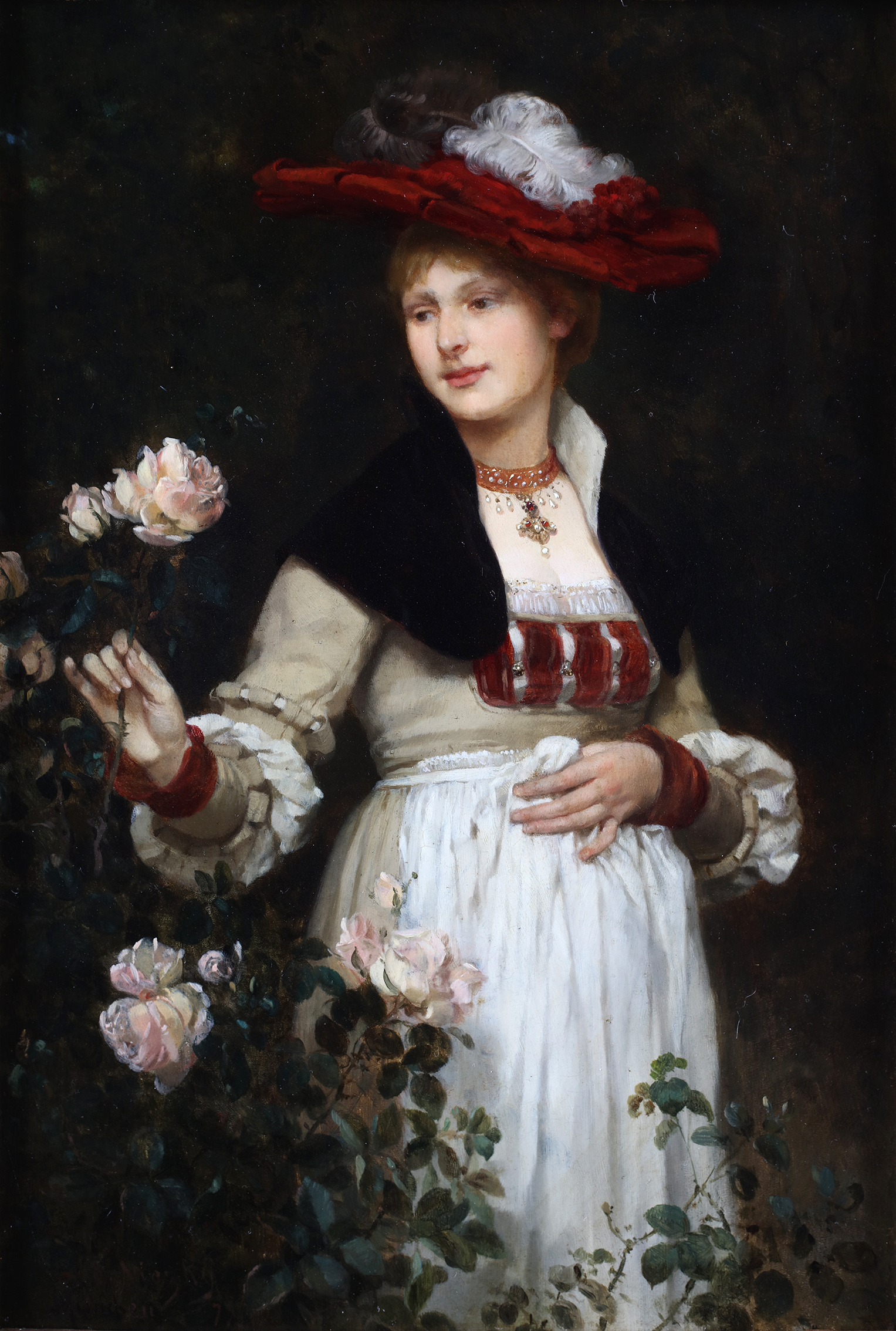Portrait of a lady holding roses