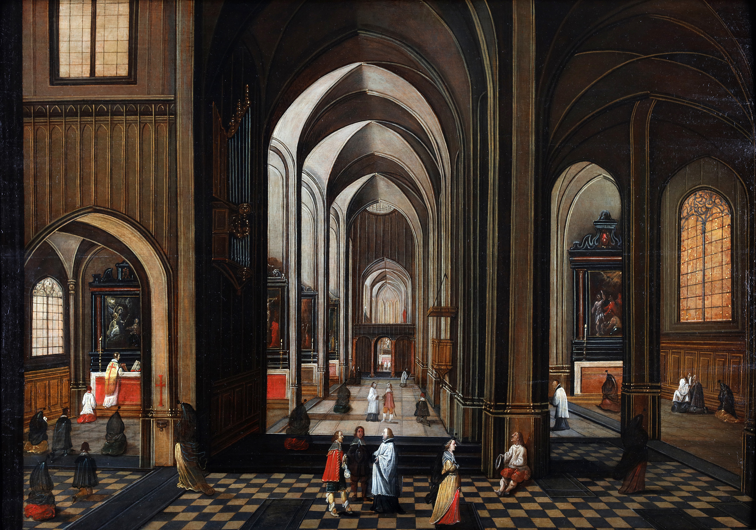 Religious activities in an interior of a Flemish cathedral