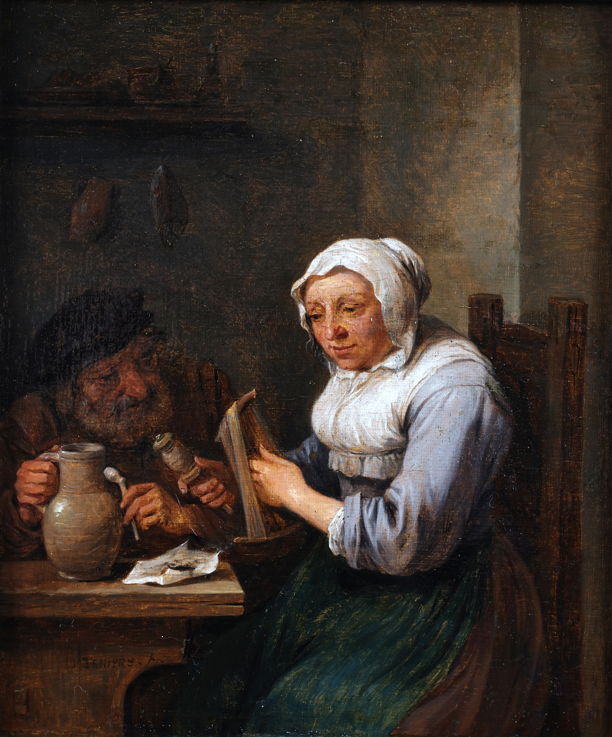 A woman twisting wool and a man at a table holding a pipe and a jug of beer