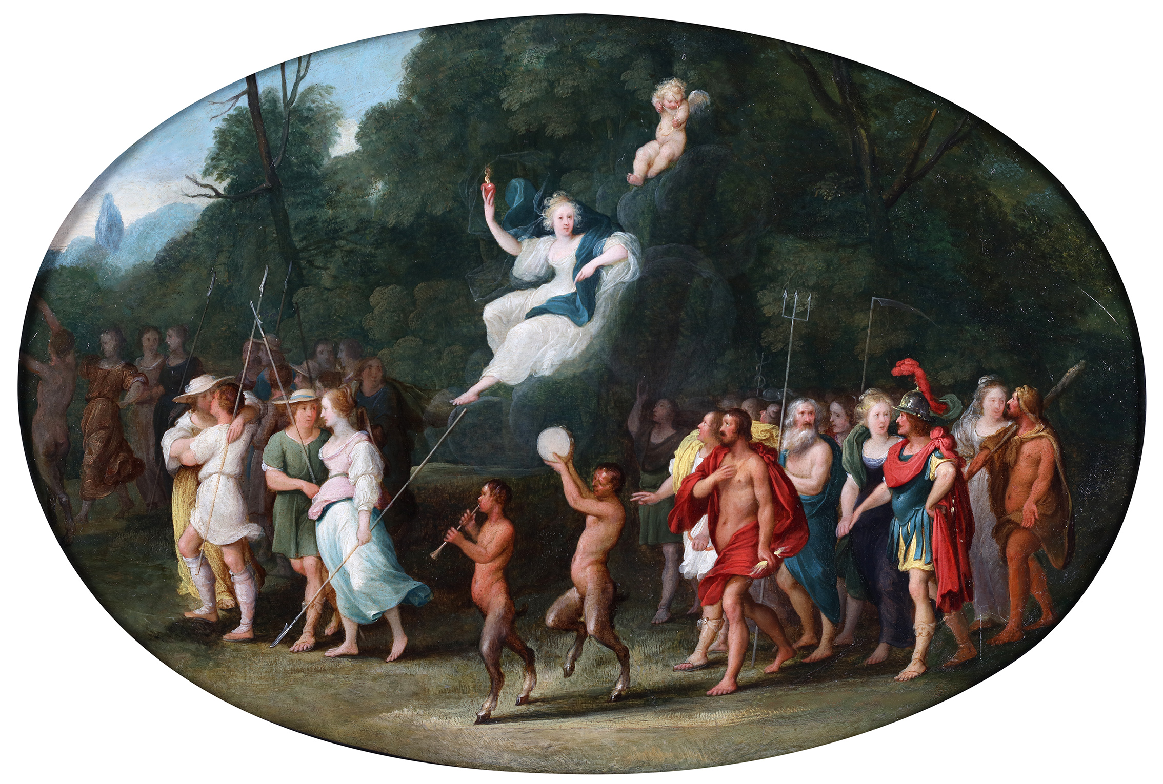 Venus and Cupid, surrounded by couples, feasting satyrs and the Olympic gods