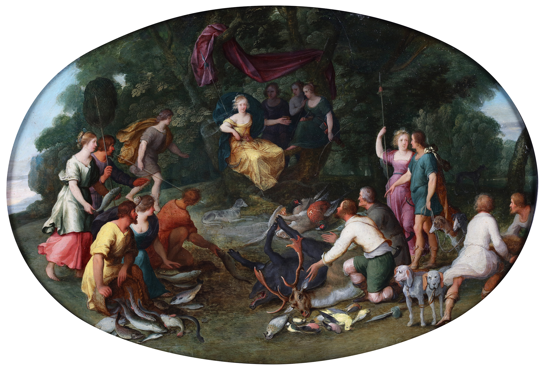 The goddess Diana surrounded by hunters and their successful catch