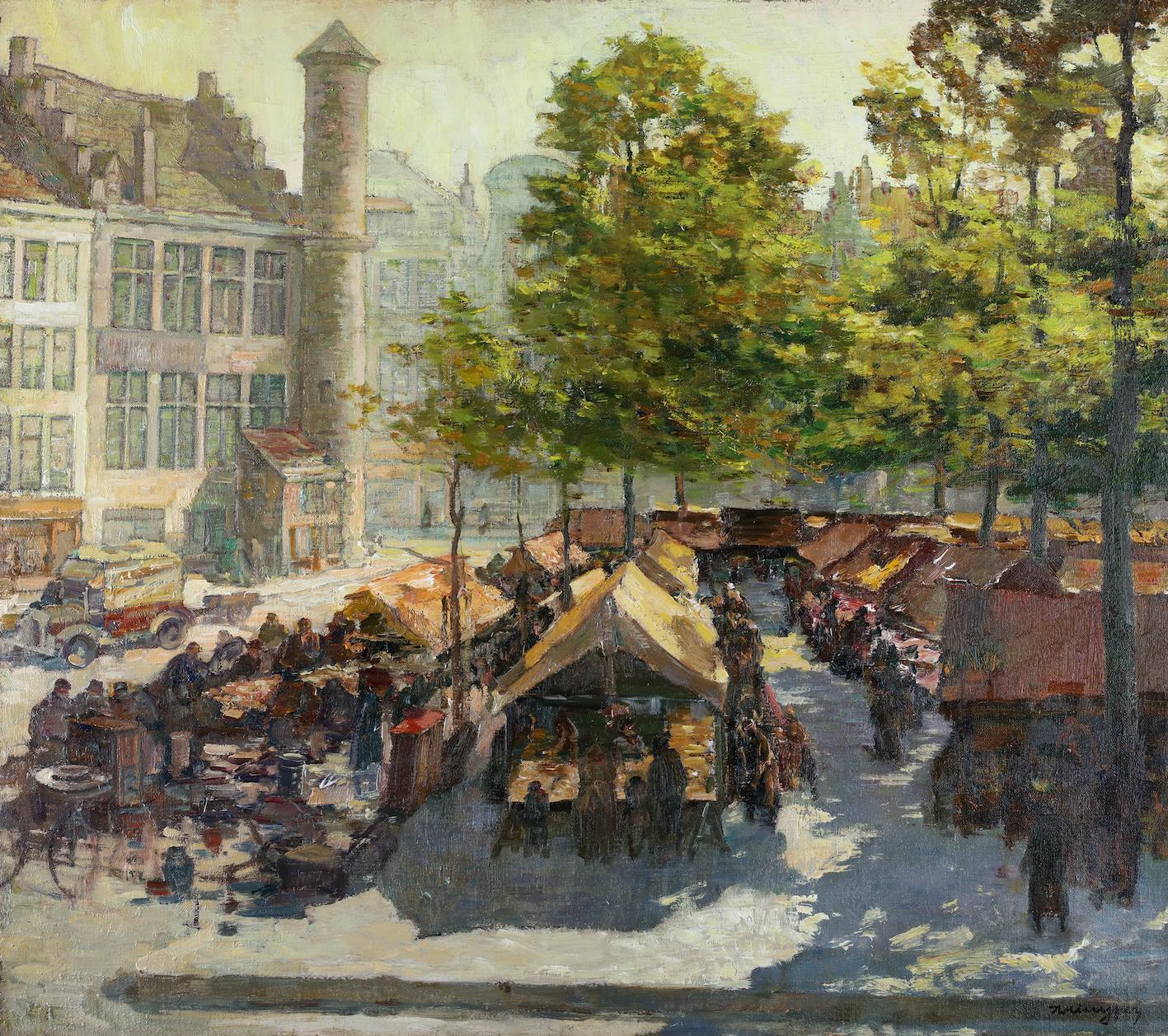 Activities on the Vrijdagsmarkt in Ghent with 'Het Toreken,' on the left
