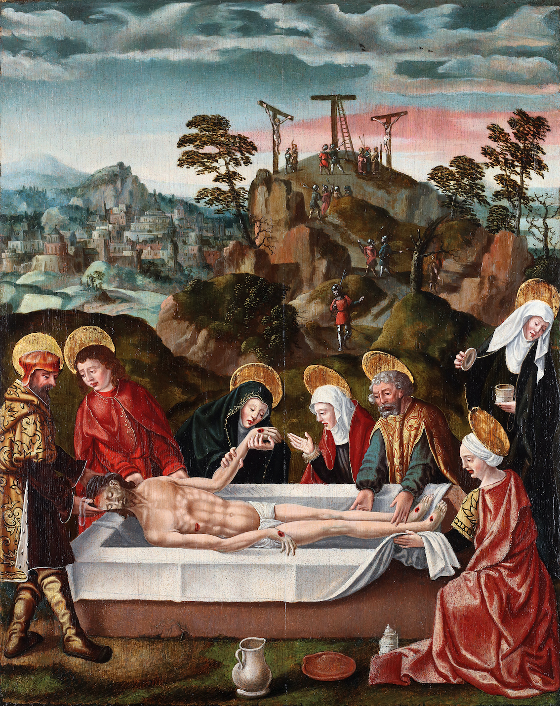 The Entombment of Christ  in front of Jerusalem and the hill of Golgotha