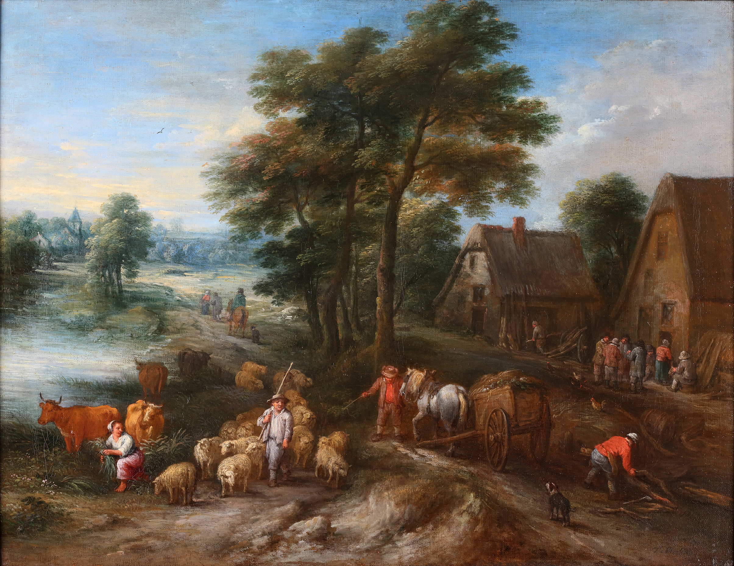 An animated landscape with peasants at work