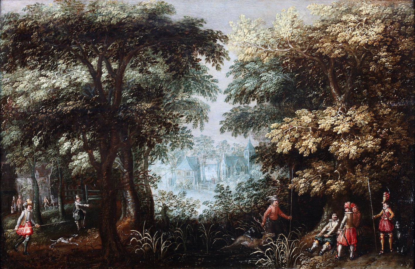 Landscape with hunters and a village view