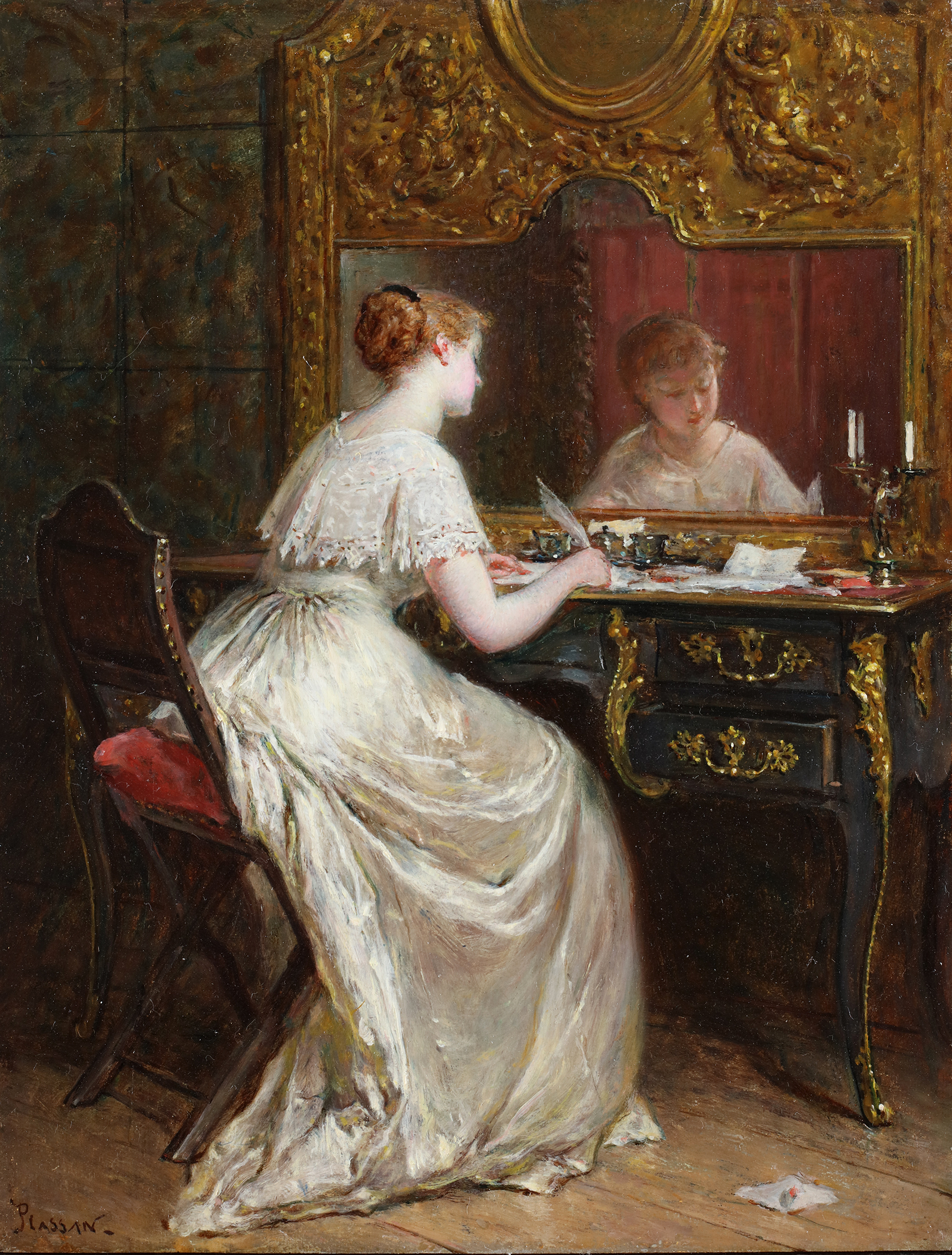 A young lady writing