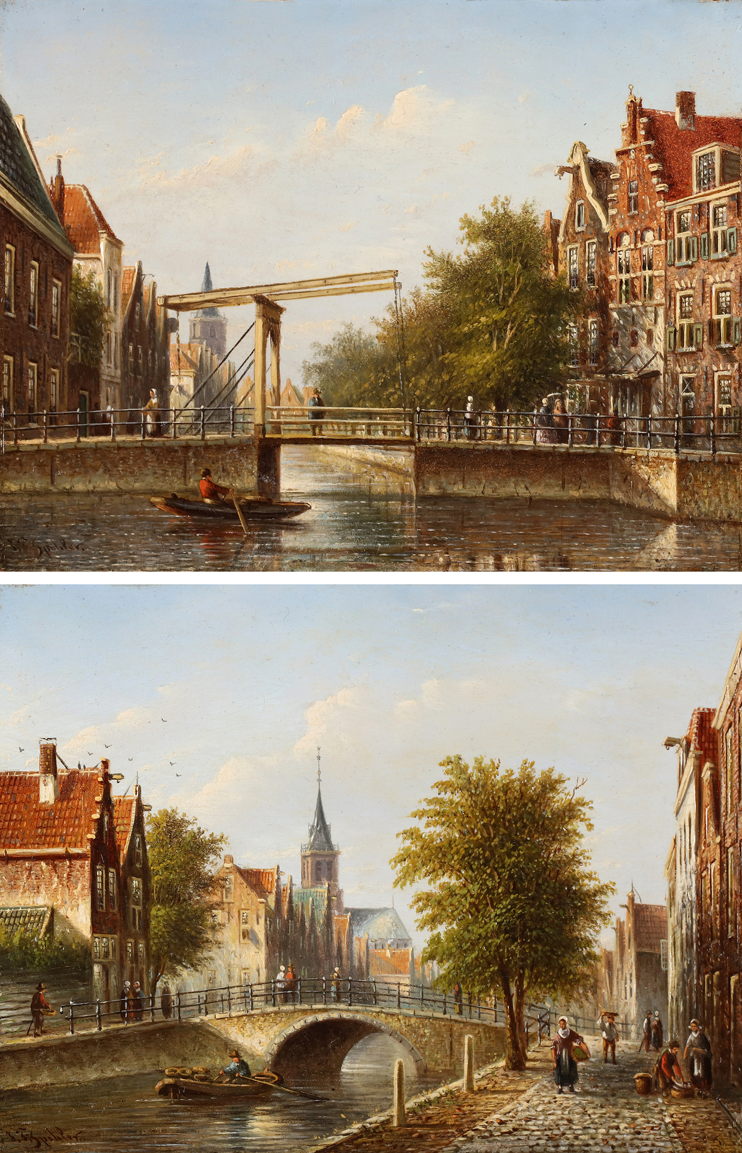 Two city views of Amsterdam