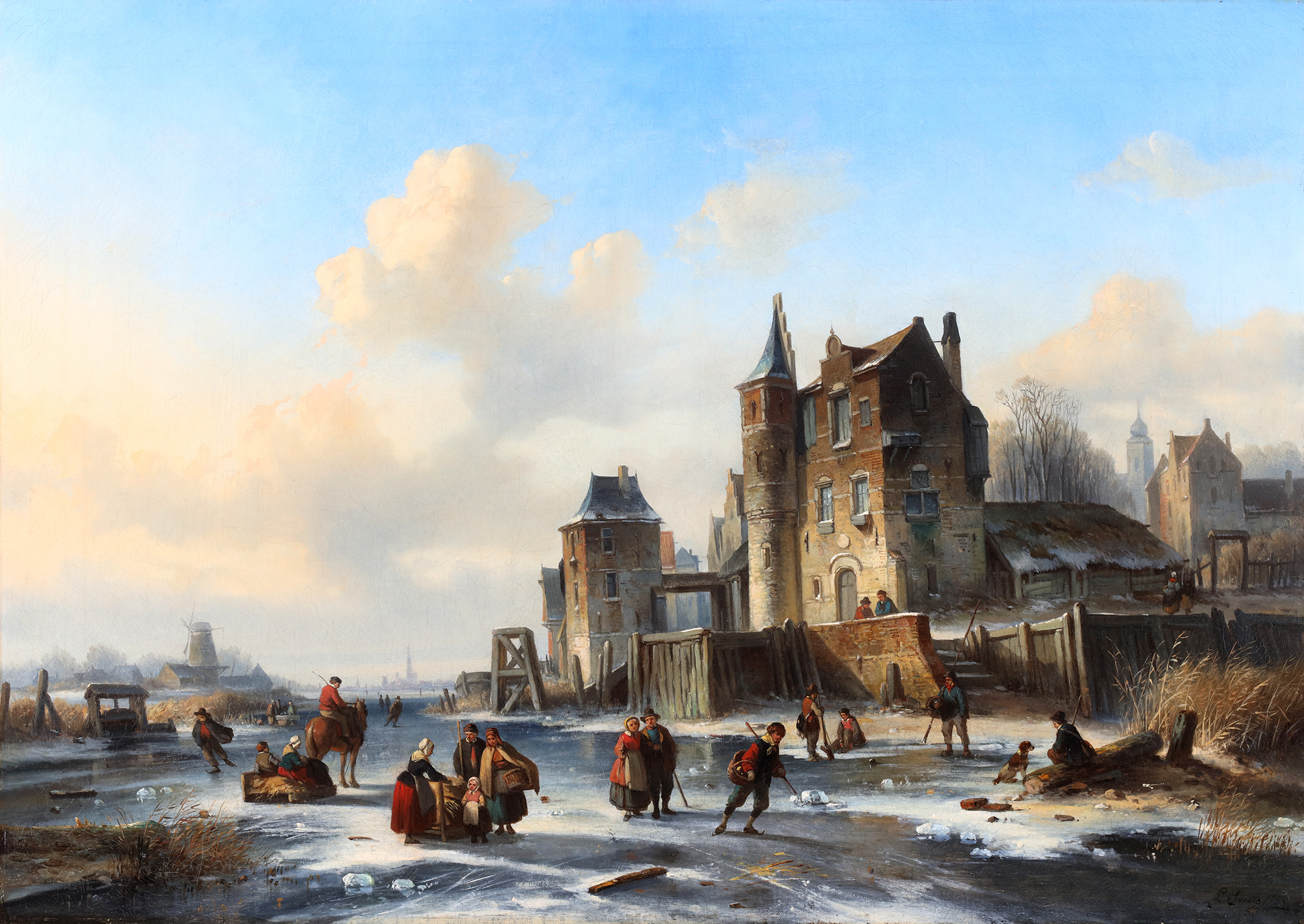 Winterlandscape with skaters on ice