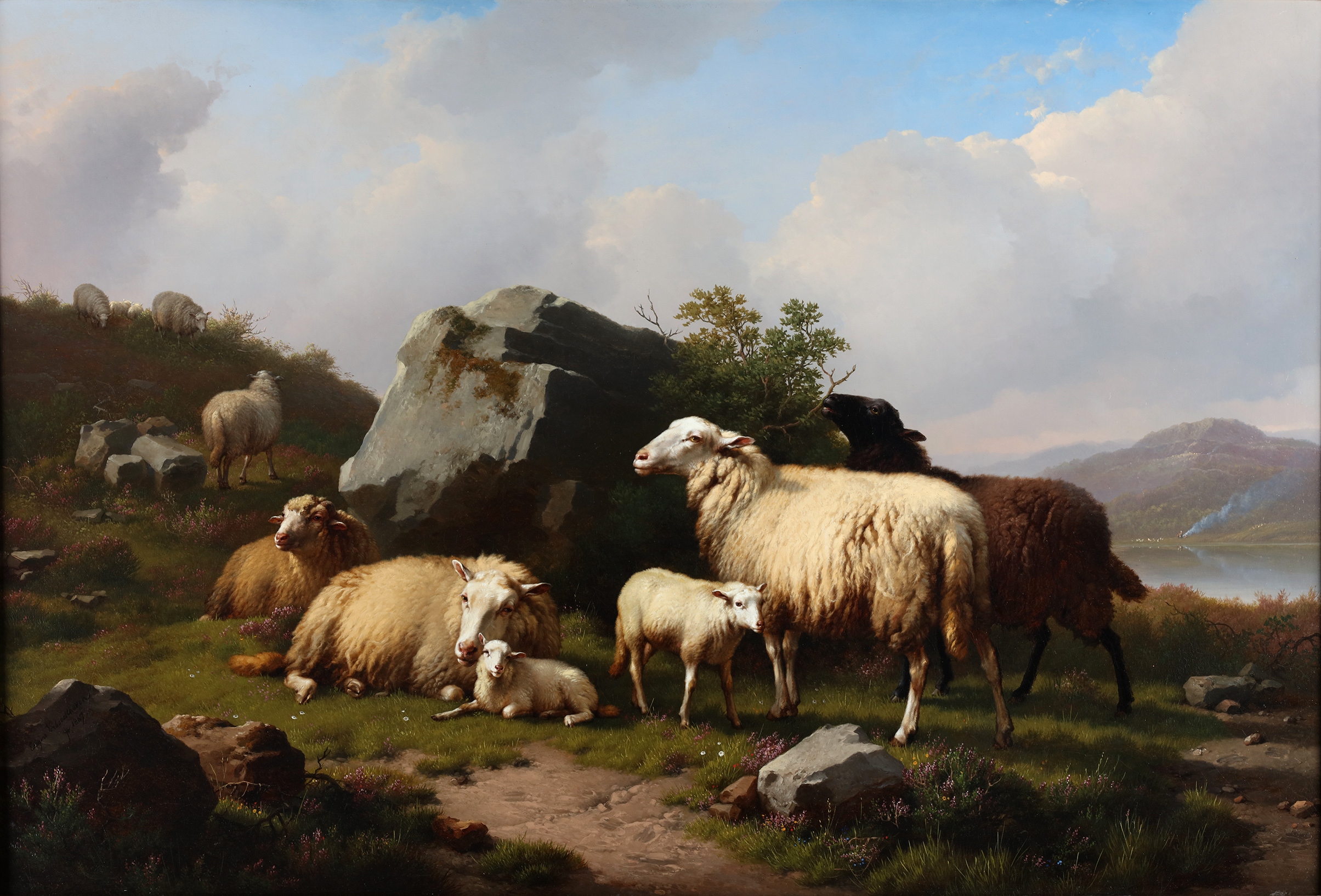 A landscape with a flock of sheep