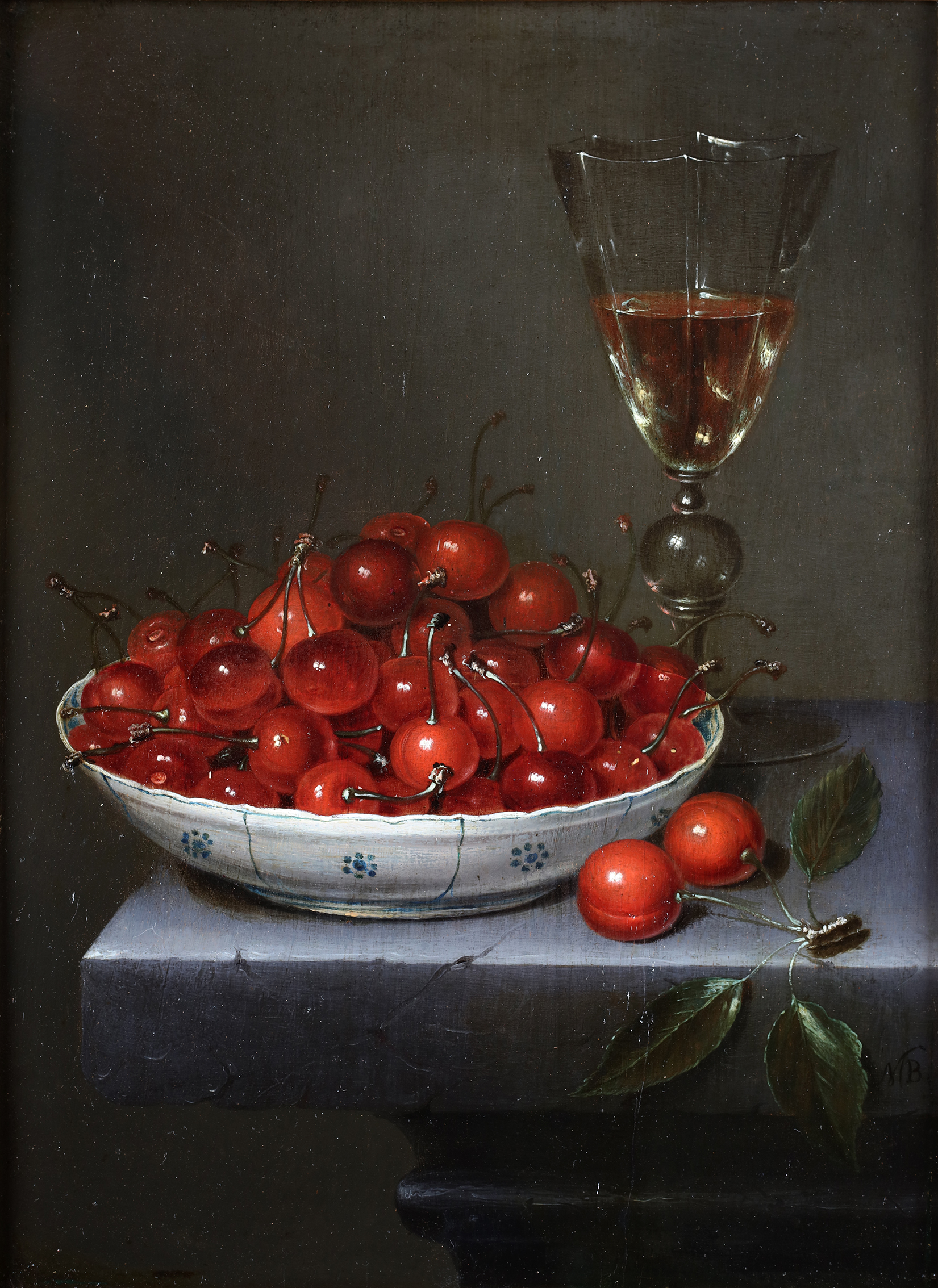 A still-life with cherries in a wanli dish and a glass of wine