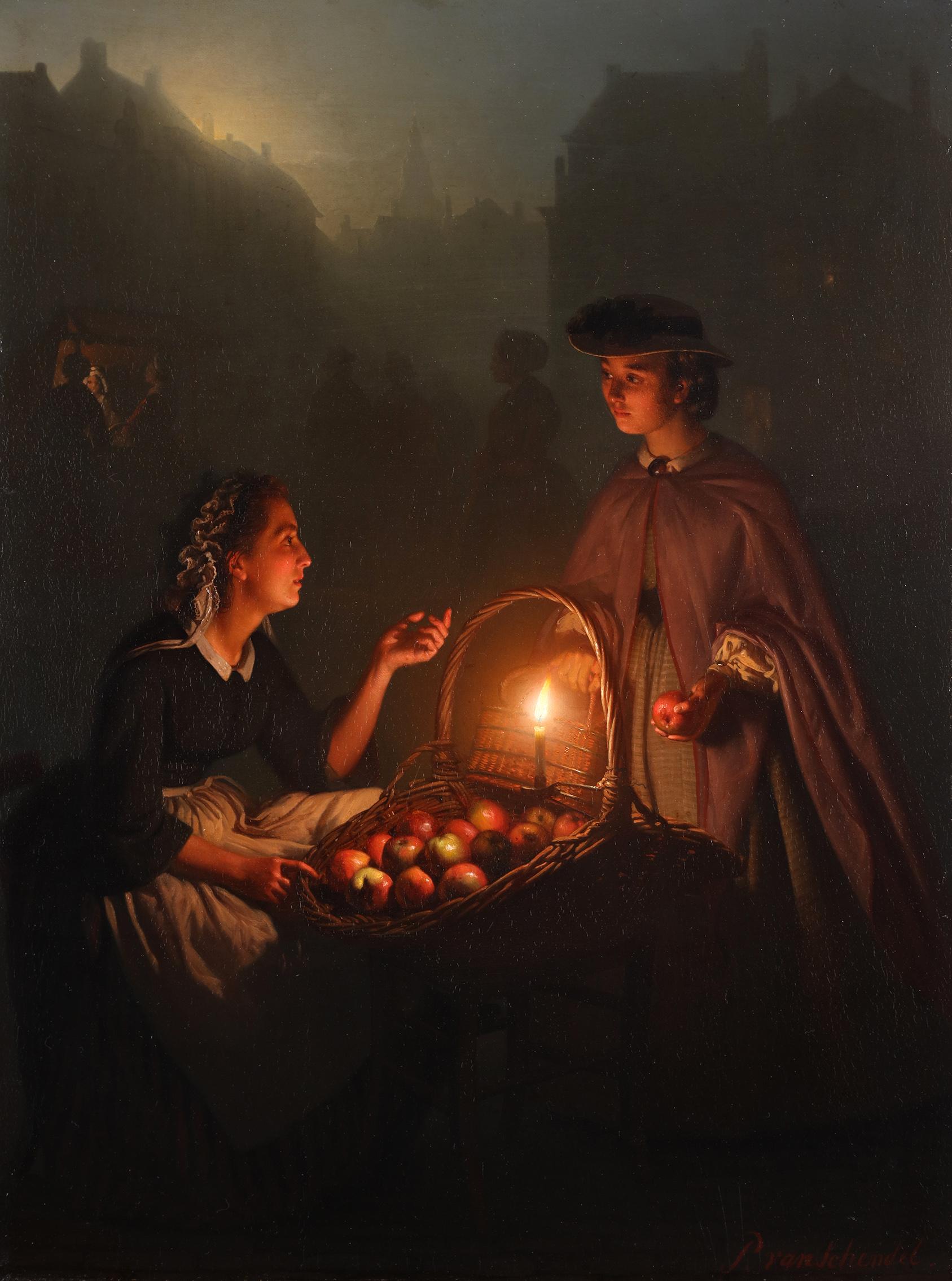 An apple seller on a Dutch evening market