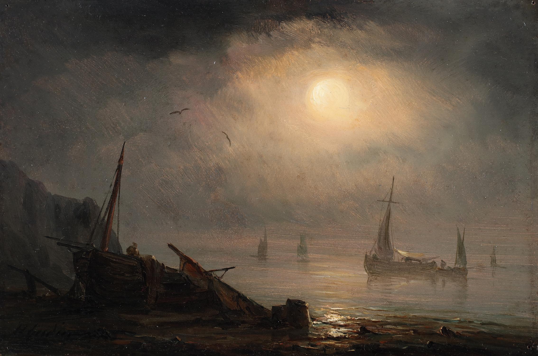 Ships near the shore under the moonlight