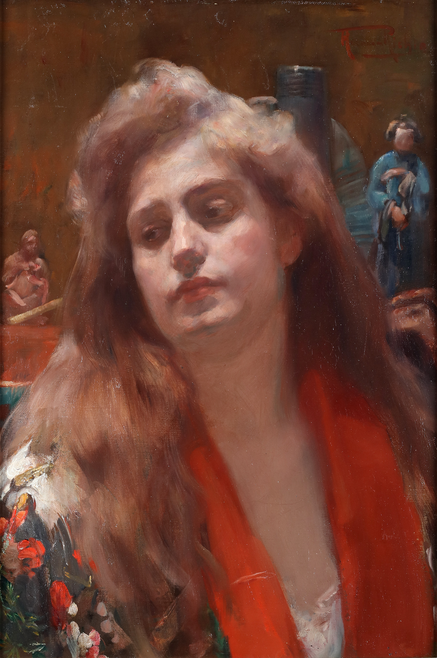 A portrait of a lady in an oriental interior