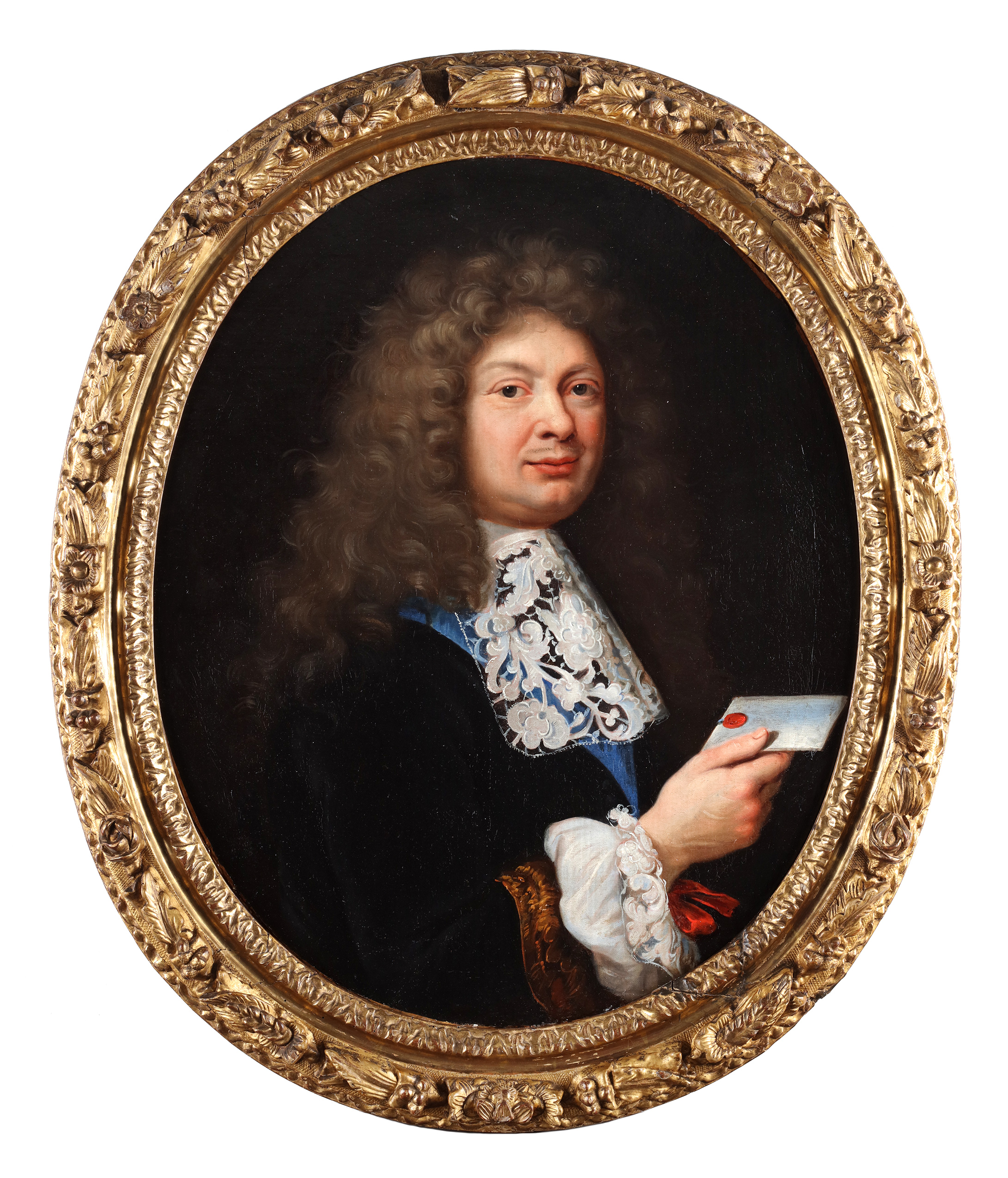 Portrait of a man holding a letter and a portrait of a lady in a blue dress
