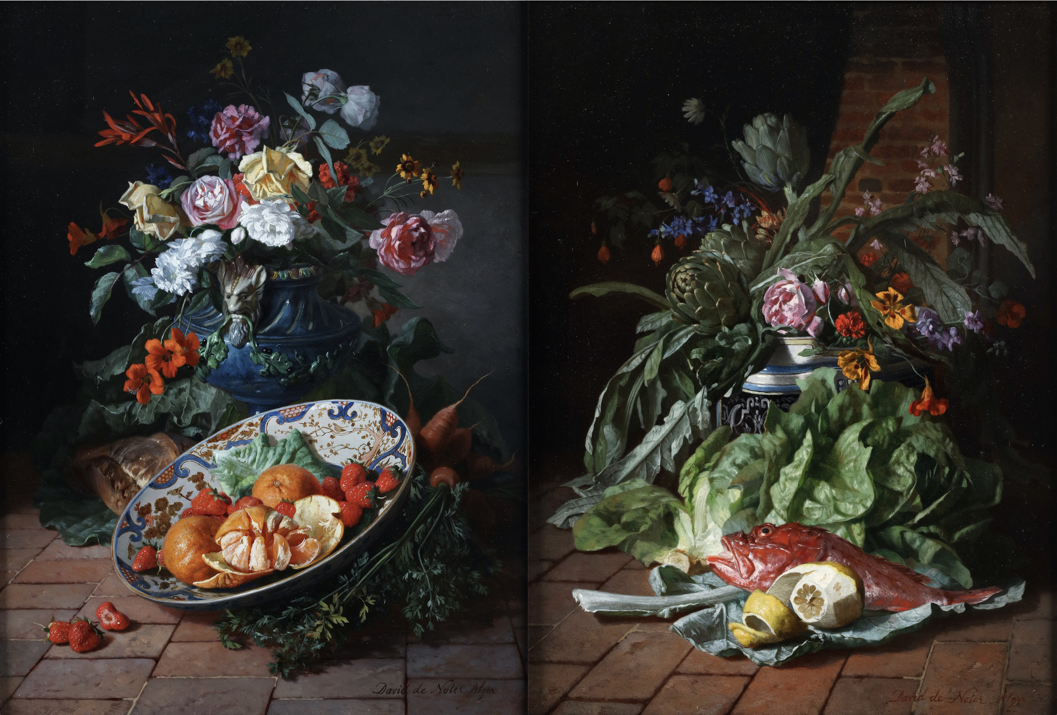 Flowers in a vase with fruits in a China bowl & Flowers in a vase with a still life with vegetables, a lemon and red sea bass.