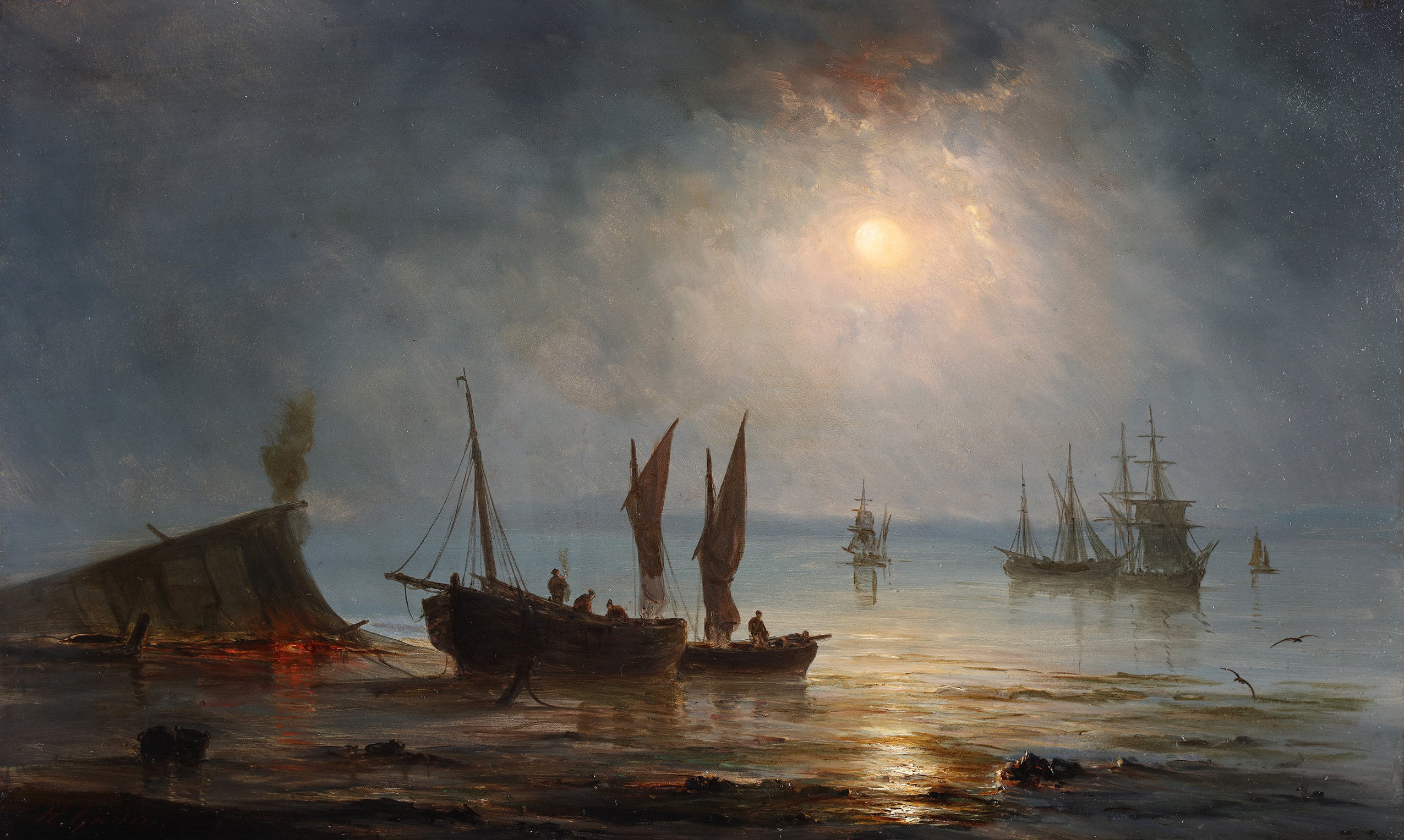 Ships near the coast during the evening