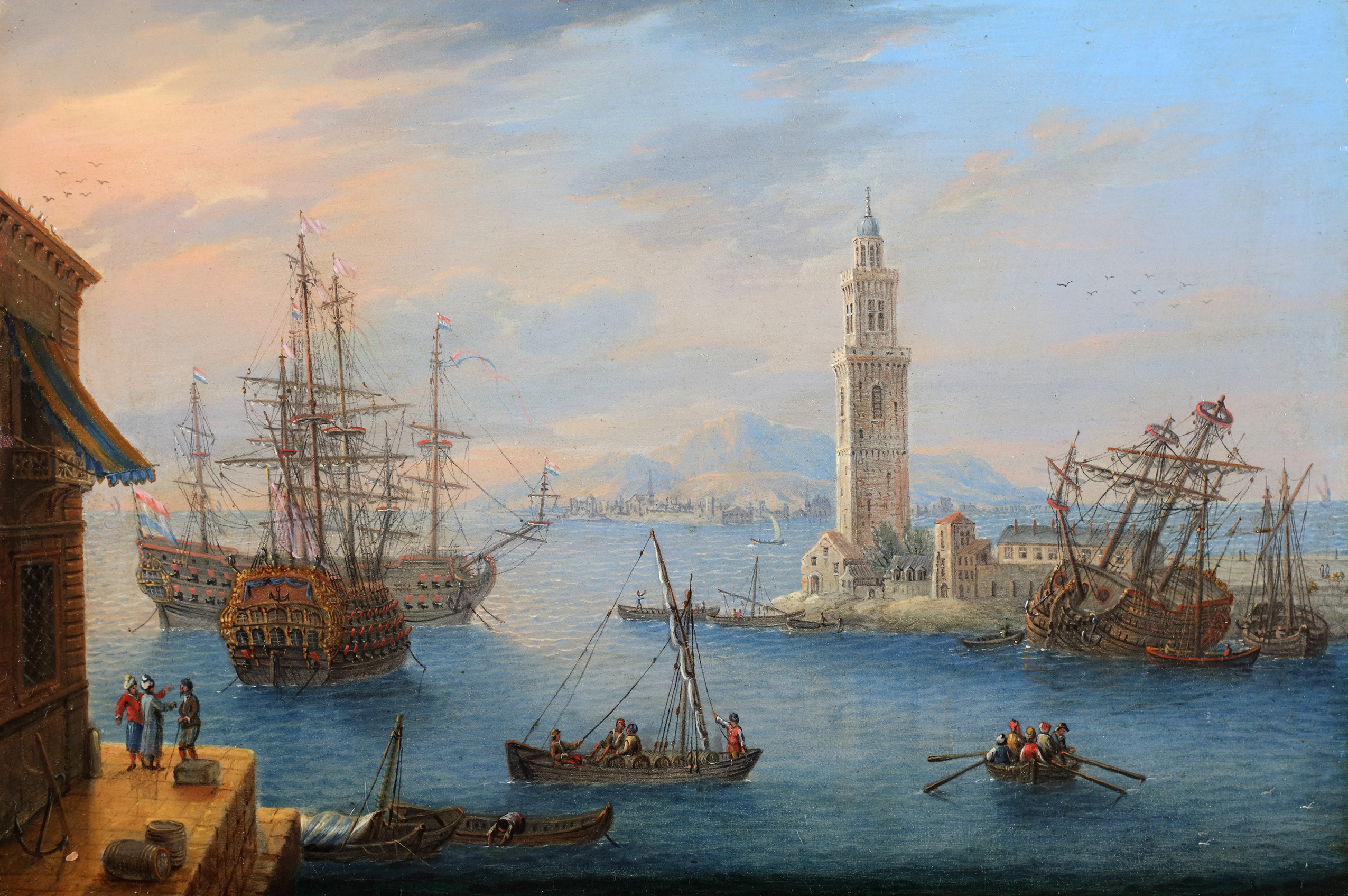 An animated mediterranean harbour view