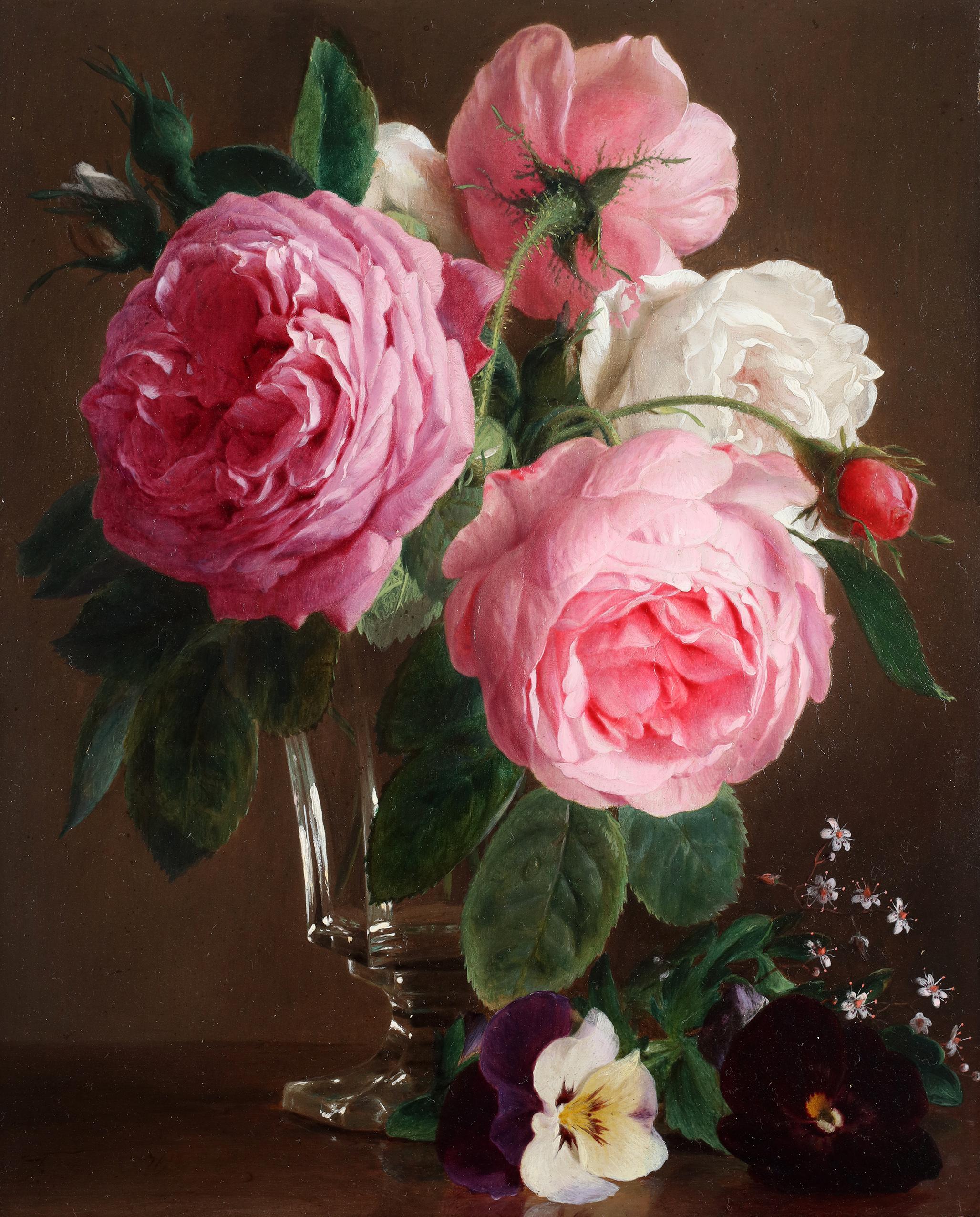 Roses in a crystal vase