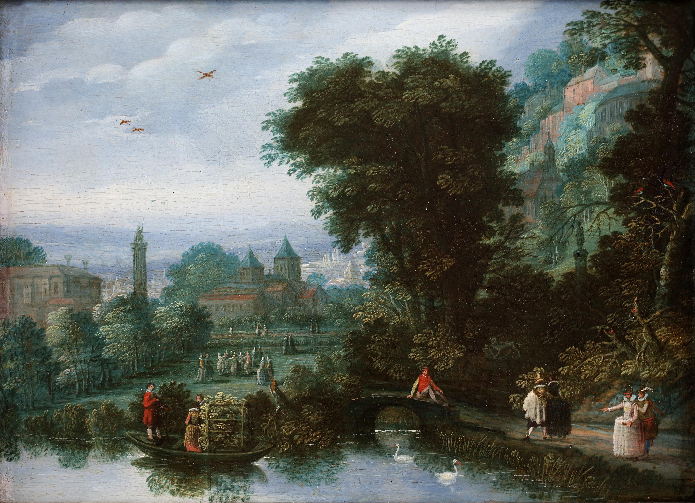 Court activities around a pond