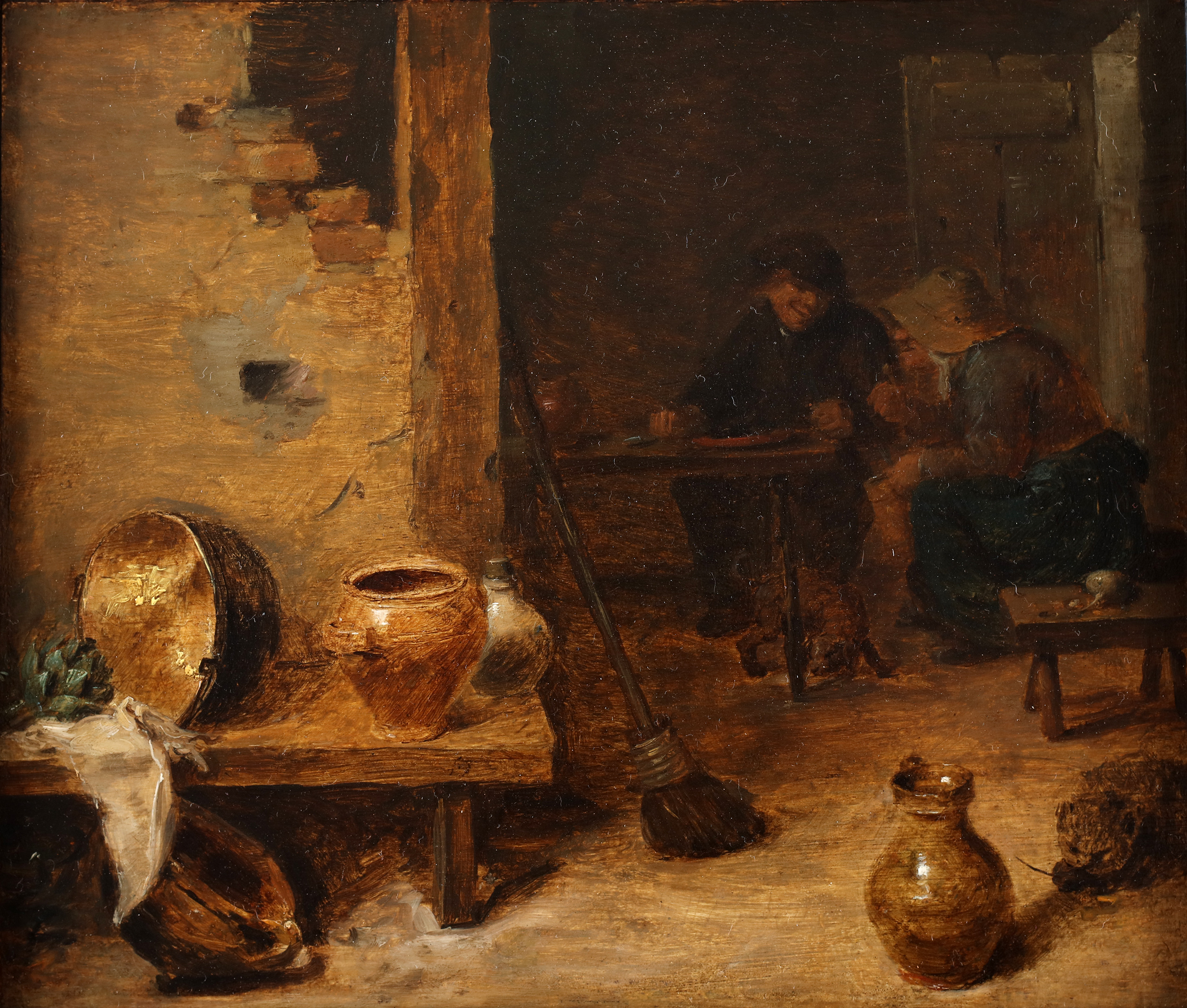 Peasants eating and drinking