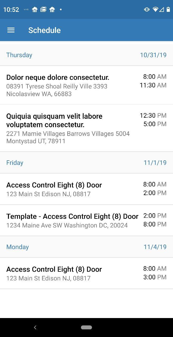 Week Dispatch Schedule View
