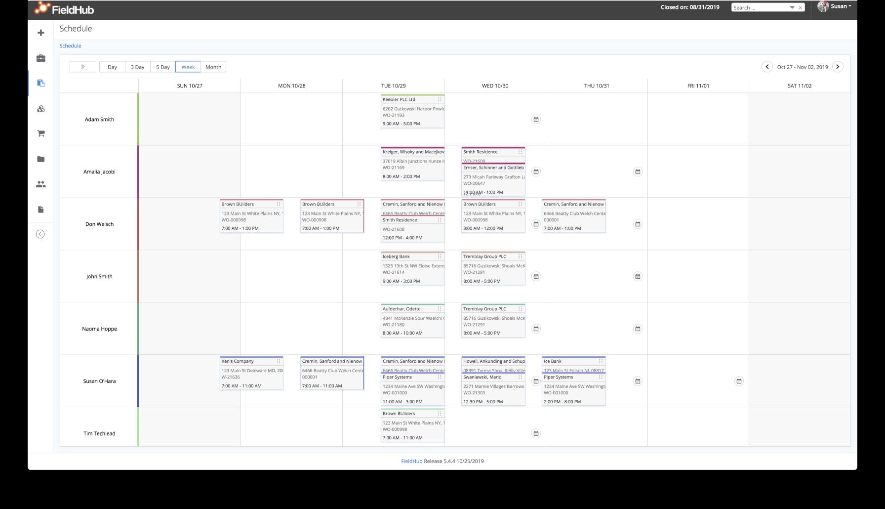 Detailed Week Dispatch Schedule View