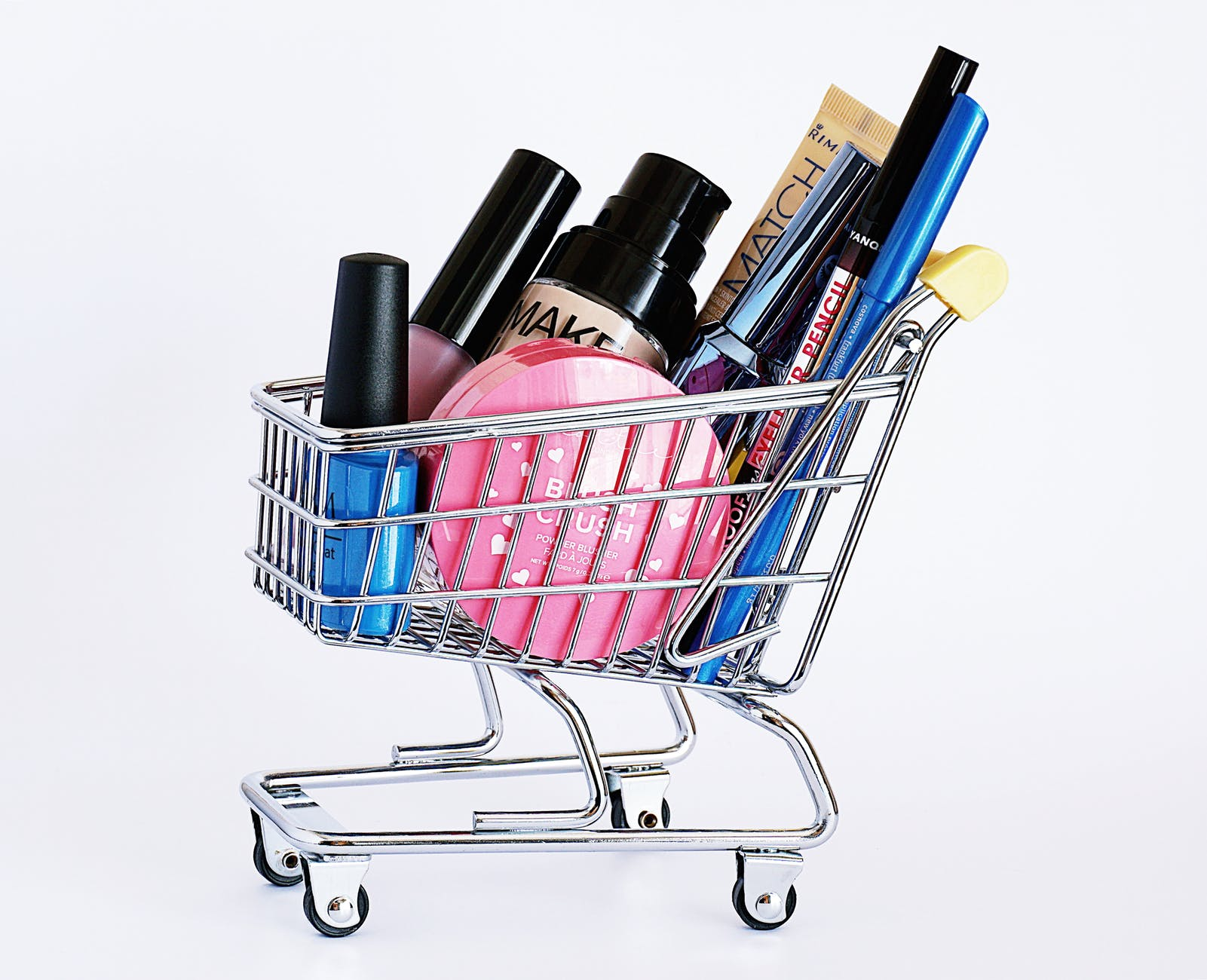 Assorted cosmetics in a cart