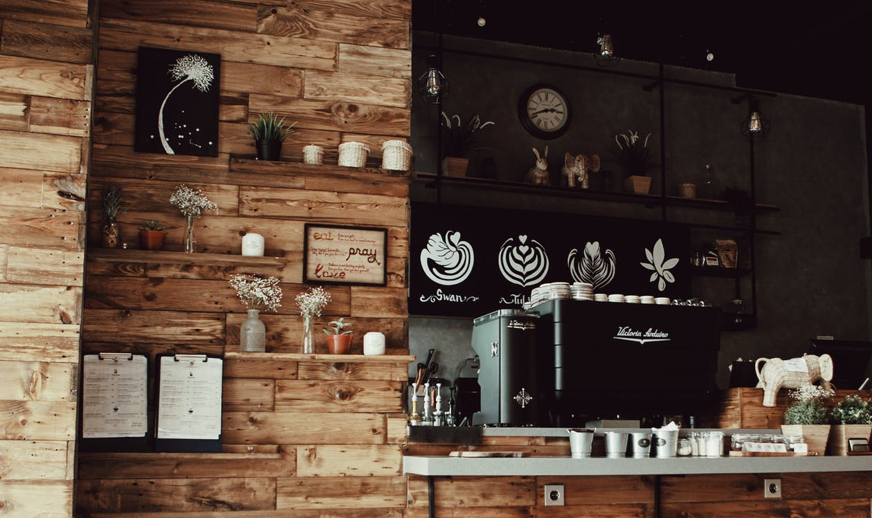 Assorted decor with brown wood inside coffee shop