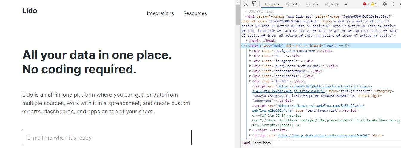 Lido Website next to corresponding HTML code