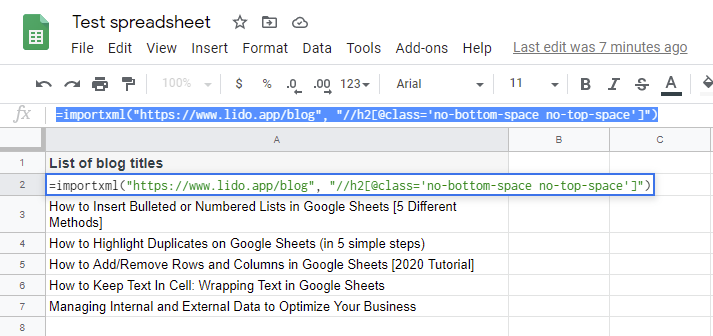 Test spreadsheet with List of blog titles in Column A