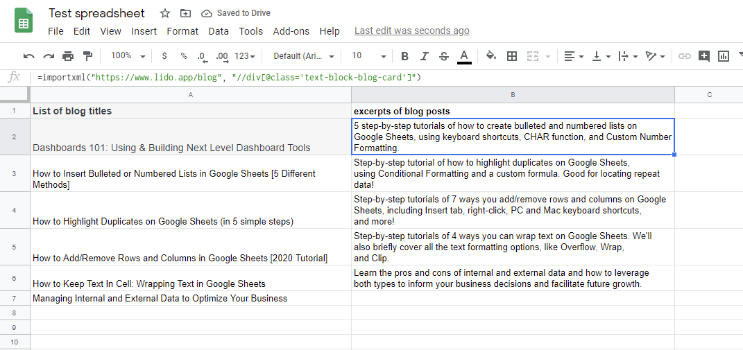 Test spreadsheet Google Sheet with list of blog titles and excerpts