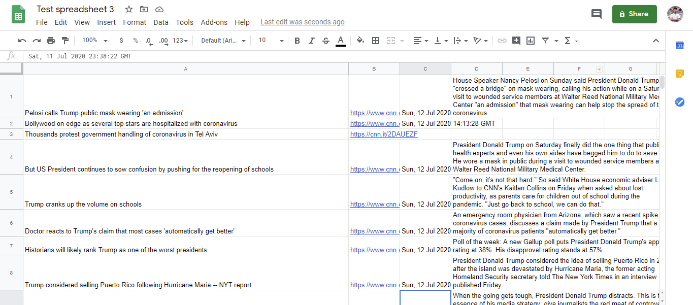 Test spreadsheet 3 with RSS feed